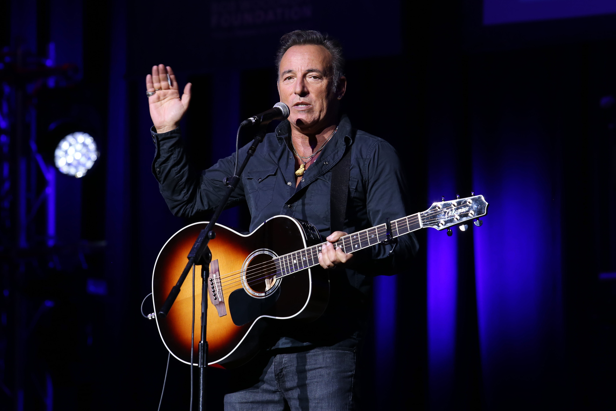Bruce Springsteen performs at the 9th Annual Stand Up For Heroes event at Madison Square Garden in New York on Nov. 10, 2015.