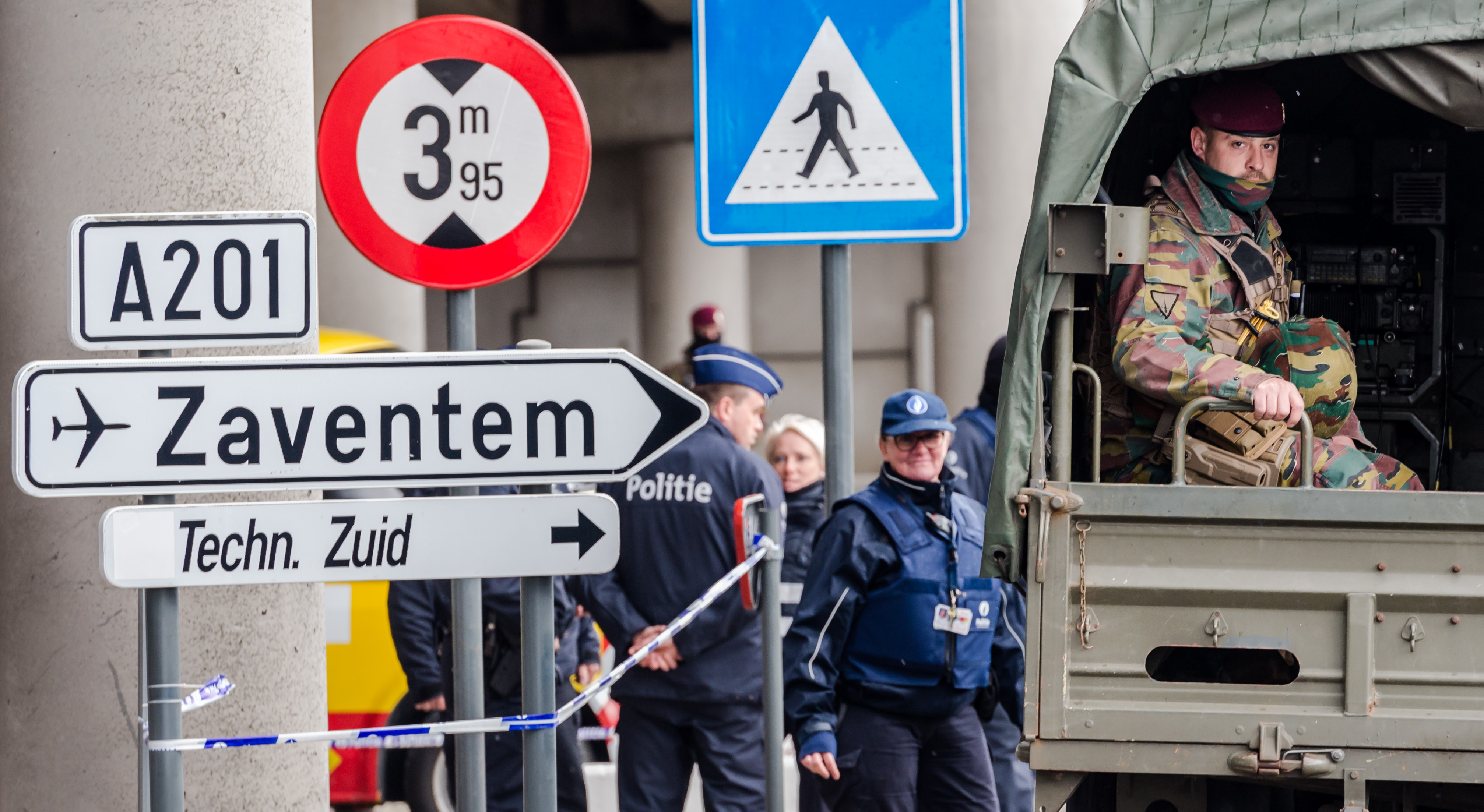 Belgian police and soldiers secure the area outside Zaventem Airport in Brussels, on March 29, 2016.