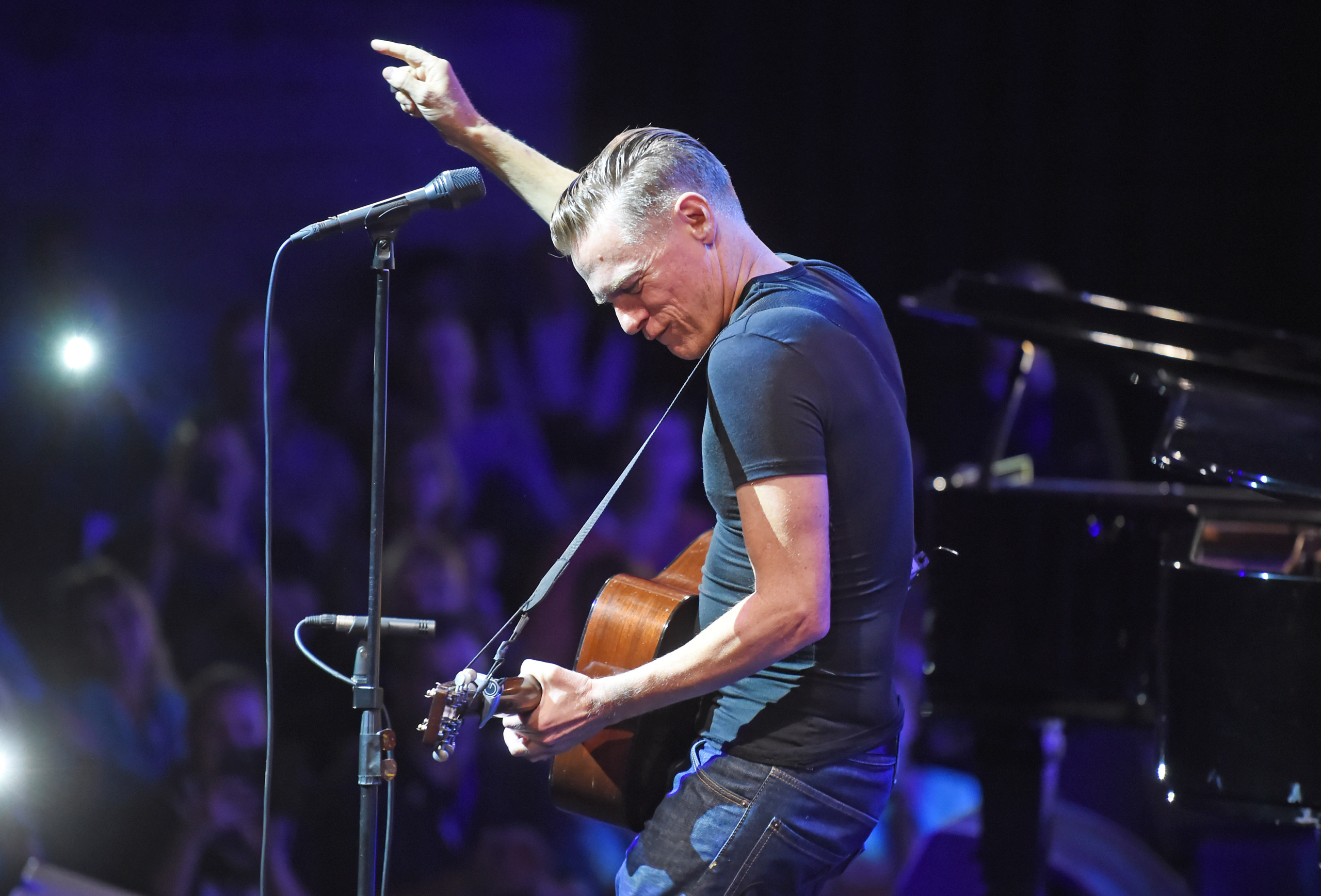 Bryan Adams performs on the Badisches Staatstheater theatre in Karlsruhe, Germany, on Oct. 13 2015.