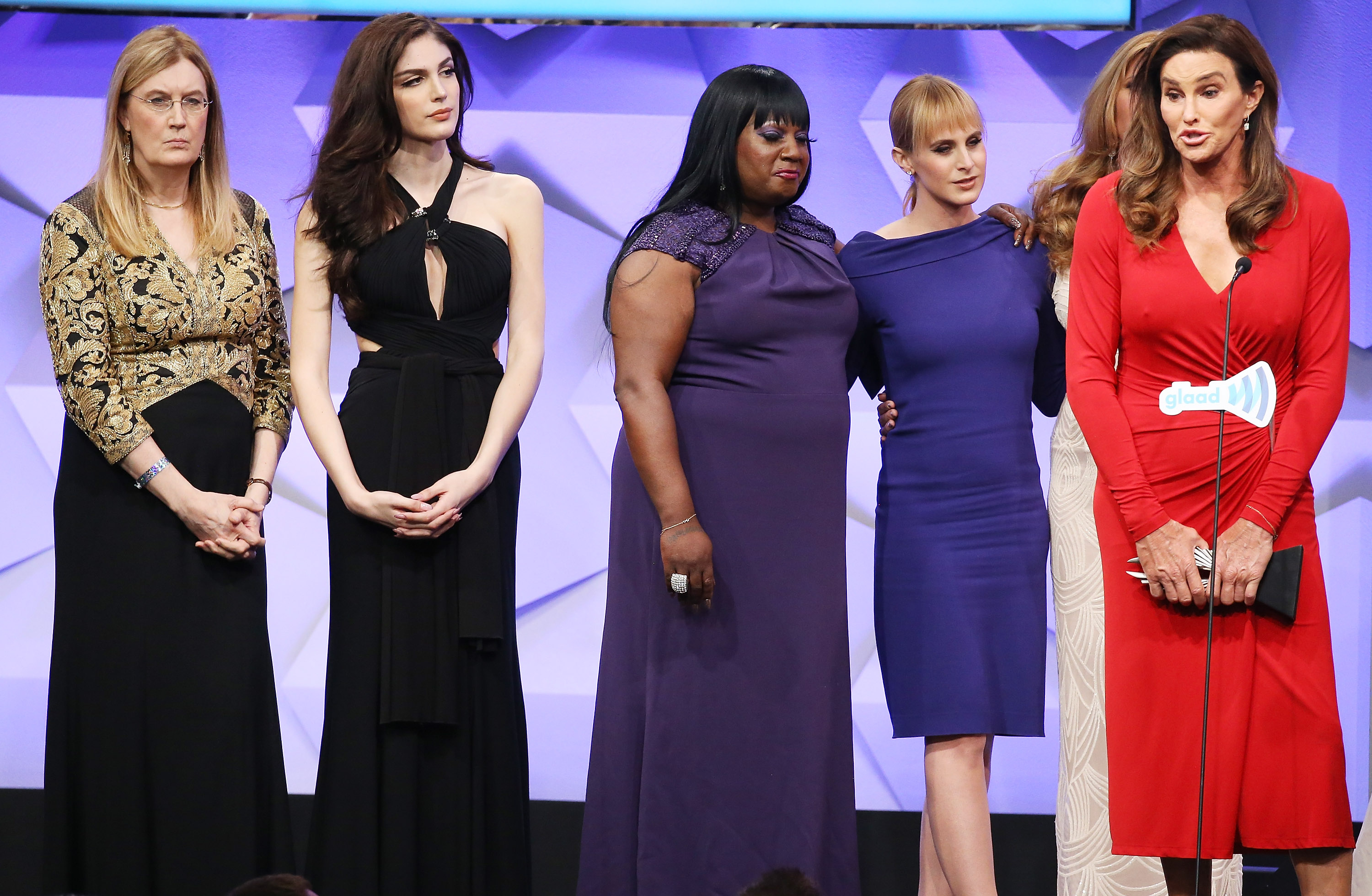 Caitlyn Jenner and the cast of I Am Cait speak onstage during the 27th Annual GLAAD Media Awards on April 2, 2016 in Beverly Hills, California.