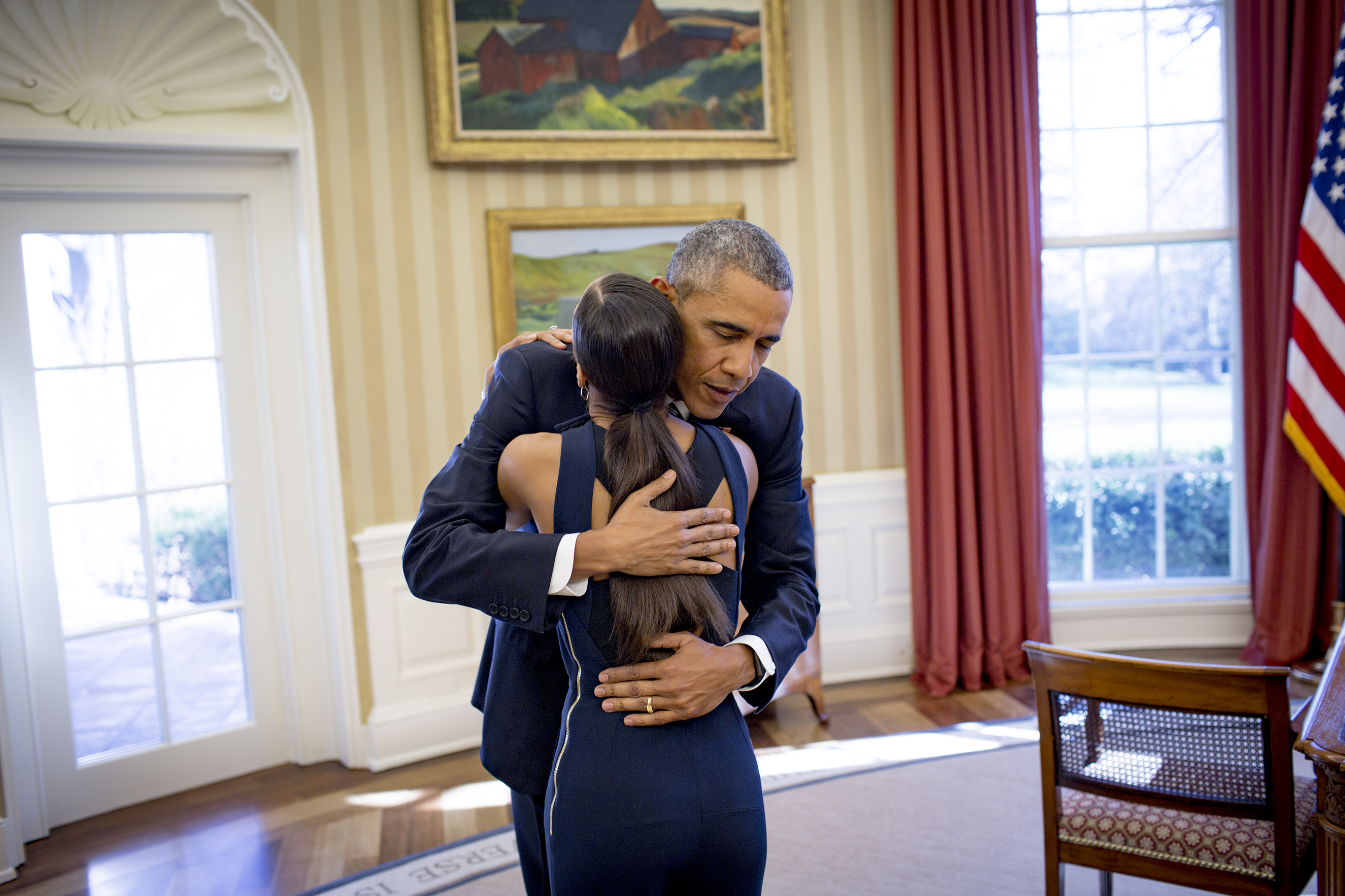 President Barack Obama and American Ballet Theater principal dancer, Misty Copeland, in the Oval Office at the White House, Feb. 29, 2016.From  In Conversation: Misty Copeland and Barack Obama.  March 28, 2016 issue.