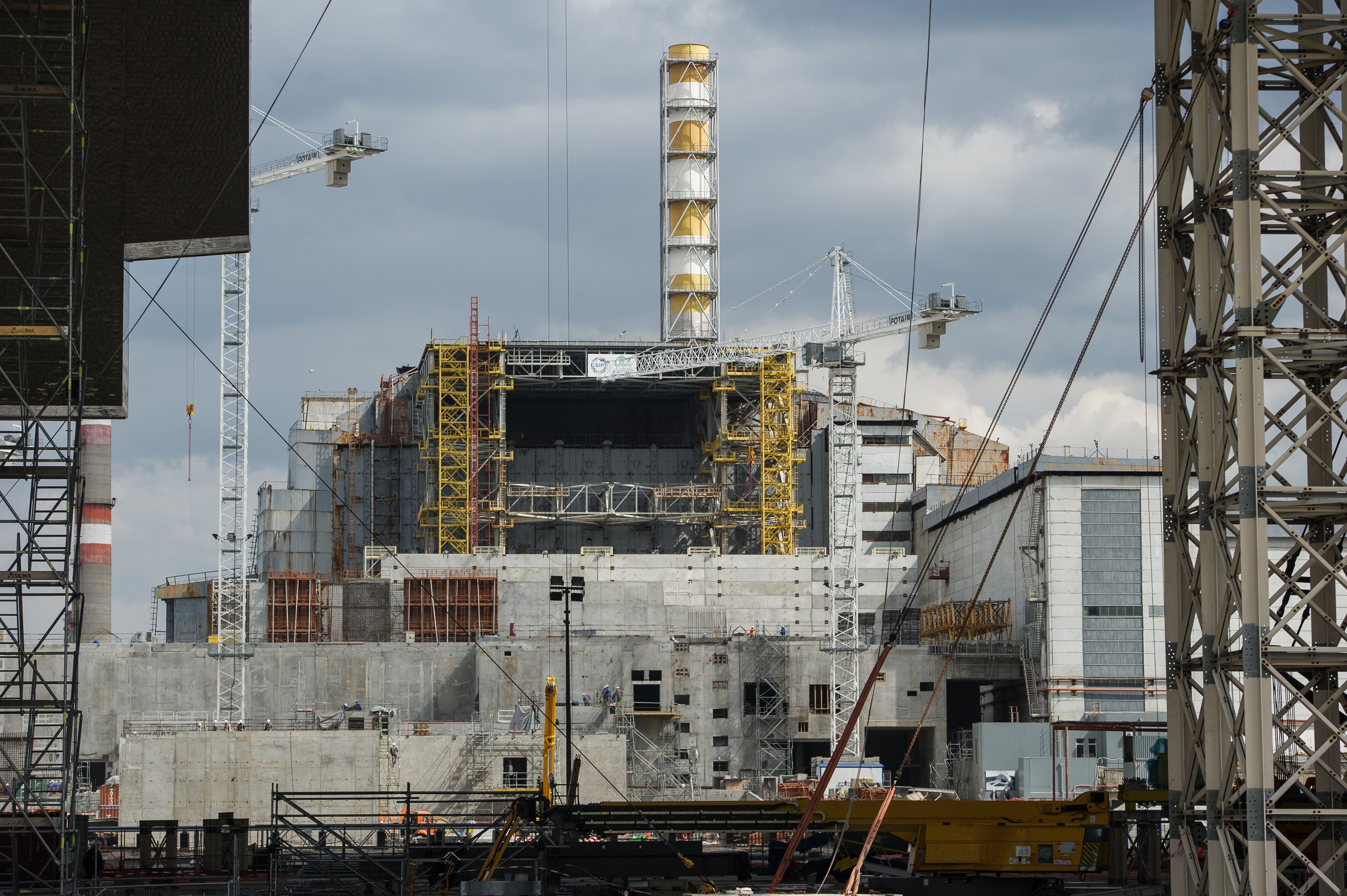 The fourth reactor of the Chernobyl Nuclear Power Plant is seen through the New Safe Confinement in Chernobyl, Ukraine, April 22, 2016.