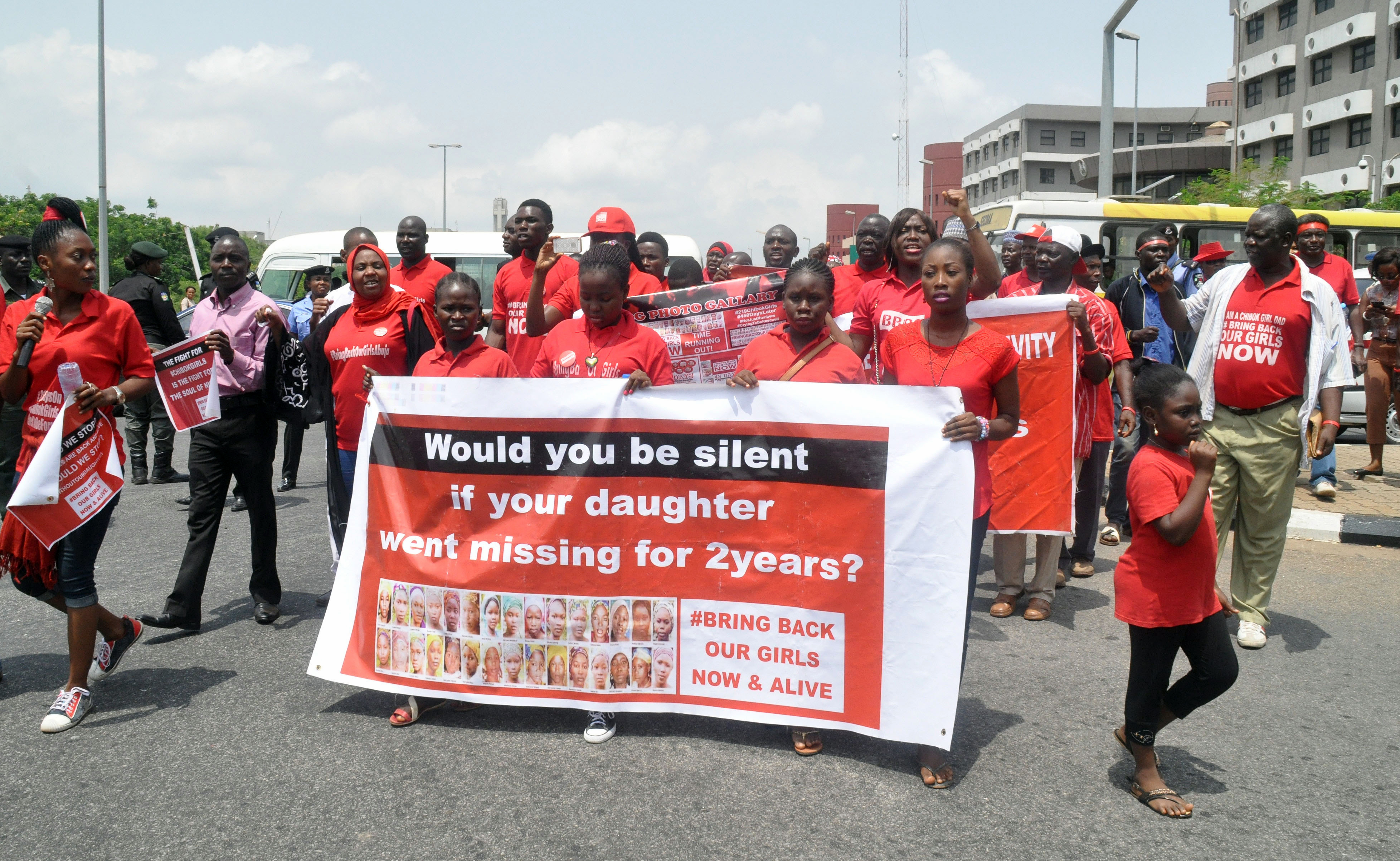 People march during a protest calling on the government to rescue the kidnapped girls of the government secondary school who were abducted two years ago, in Abuja, Nigeria on April 14, 2016.