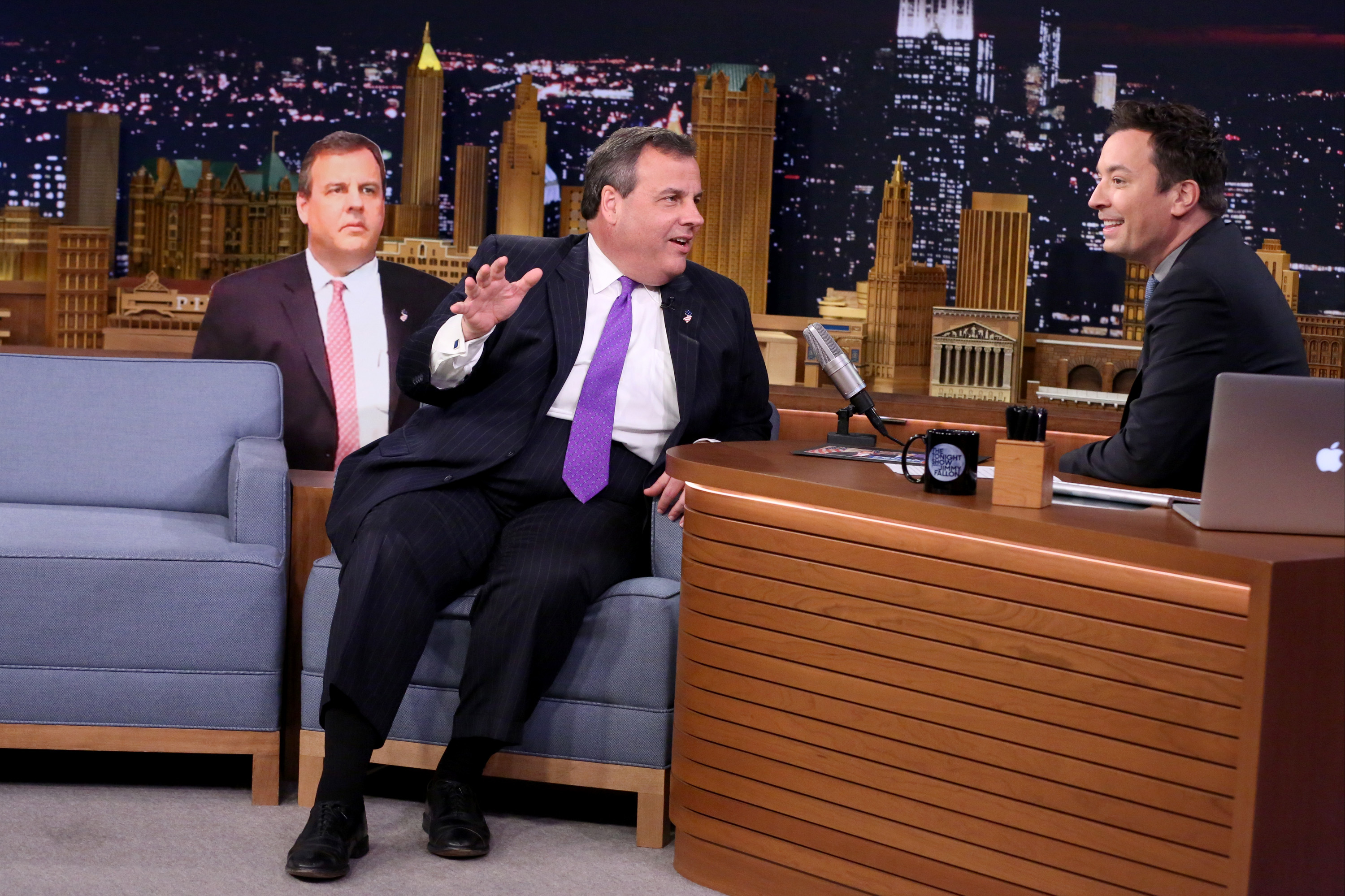 Gov. Chris Christie speaks to Jimmy Fallon during an interview on April 1.
