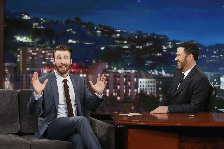 Chris Evans speaks to Jimmy Kimmel on Jimmy Kimmel Live April 11, 2016.