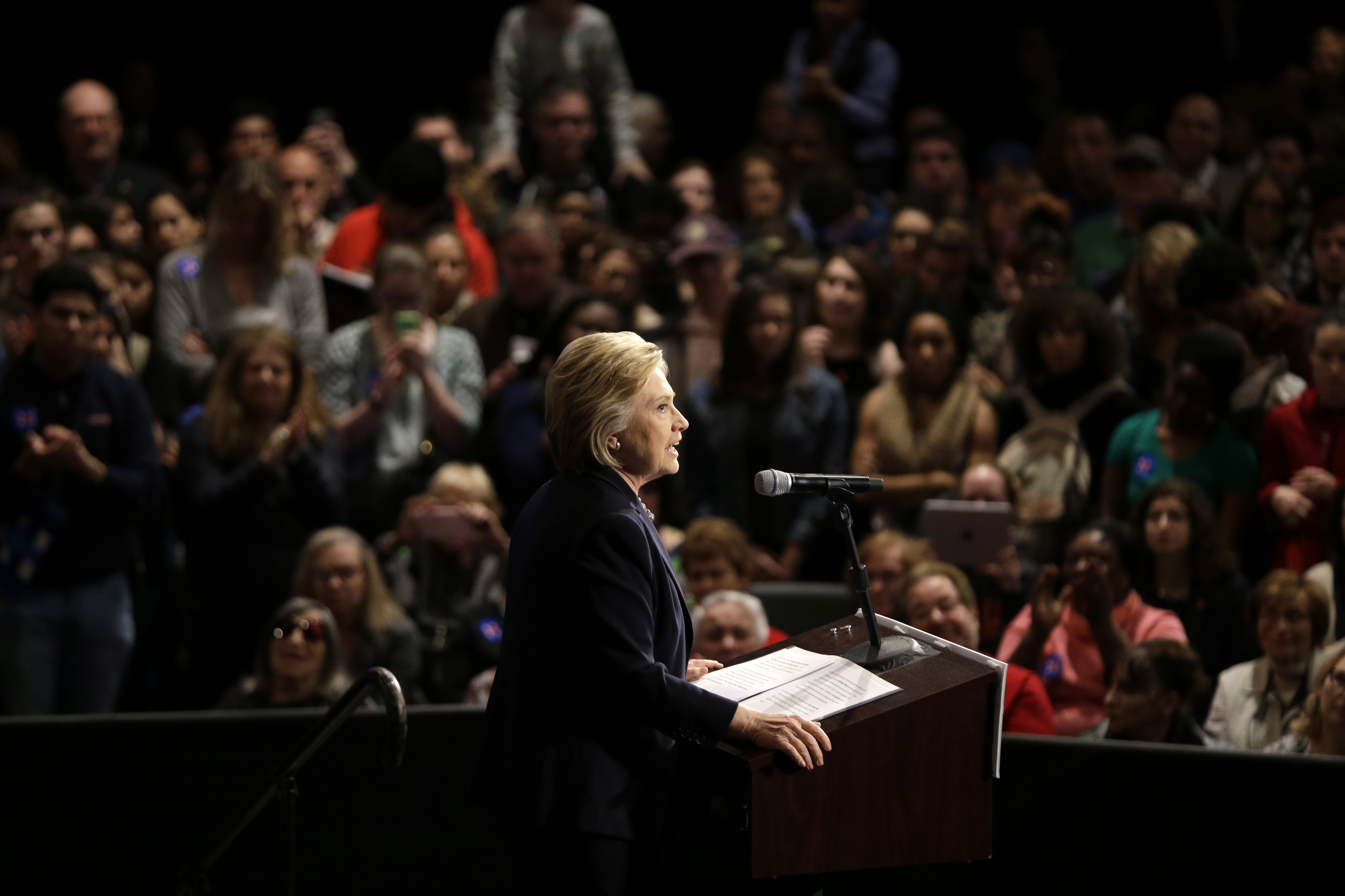 Hillary Clinton speaks at a rally in Purchase, on March 31, 2016.