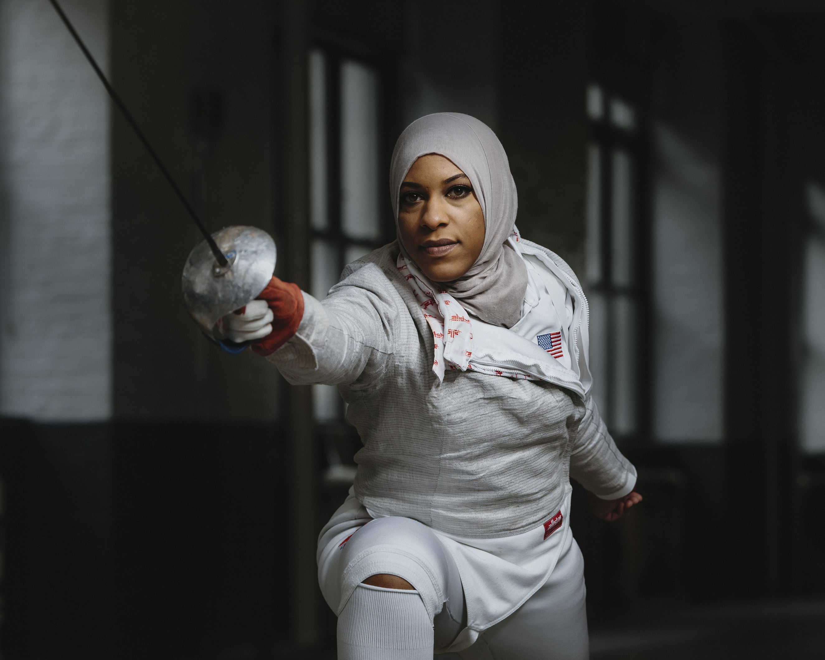 Olympic fencer Ibtihaj Muhammad photographed at theFencers Club in New York City on Tues., Feb. 9, 2016.From  A New Edge for Team USA.  March 14, 2016 issue.