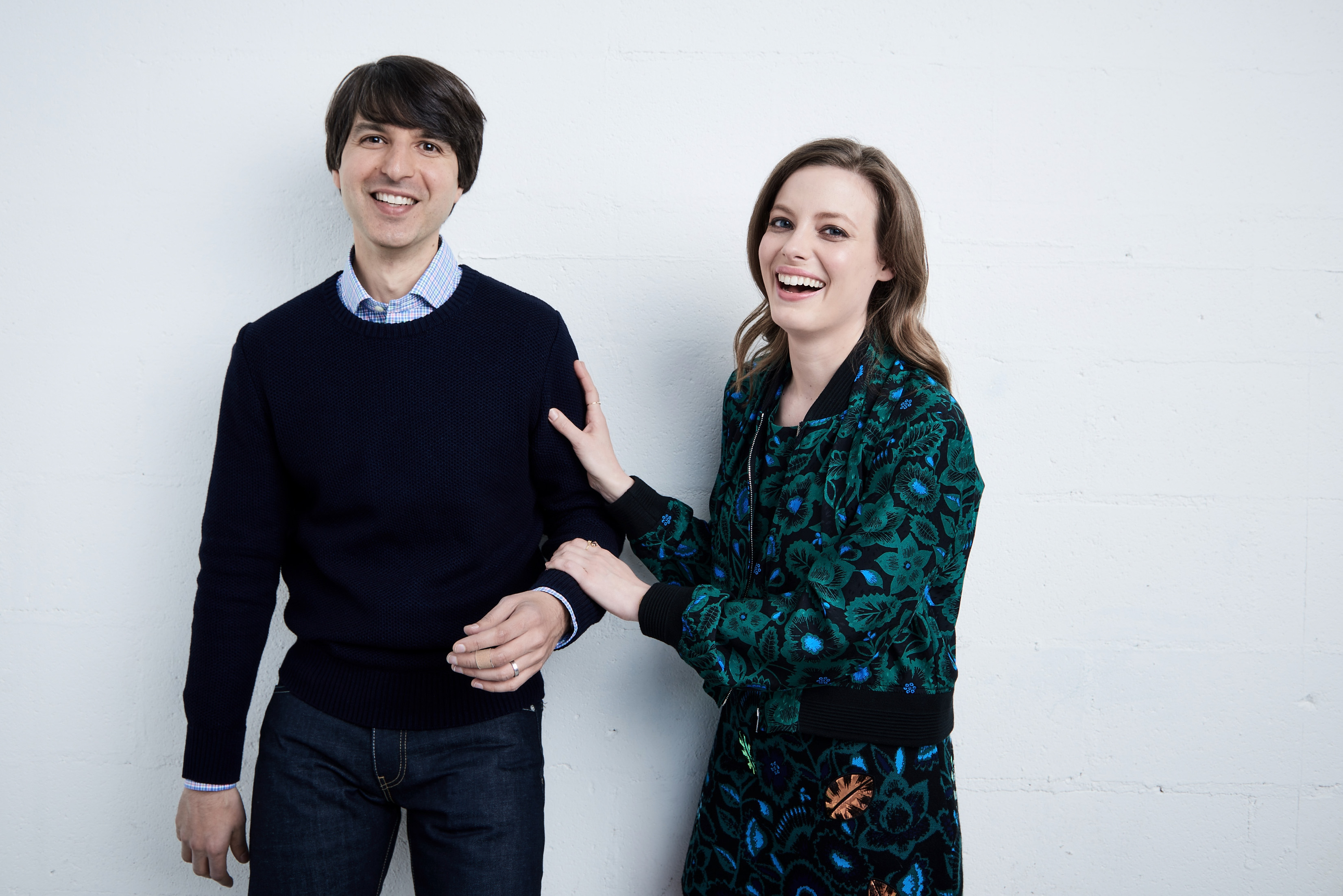Demetri Martin and Gillian Jacobs from  Dean  pose at the Tribeca Film Festival Getty Images Studio on April 16, 2016 in New York City.