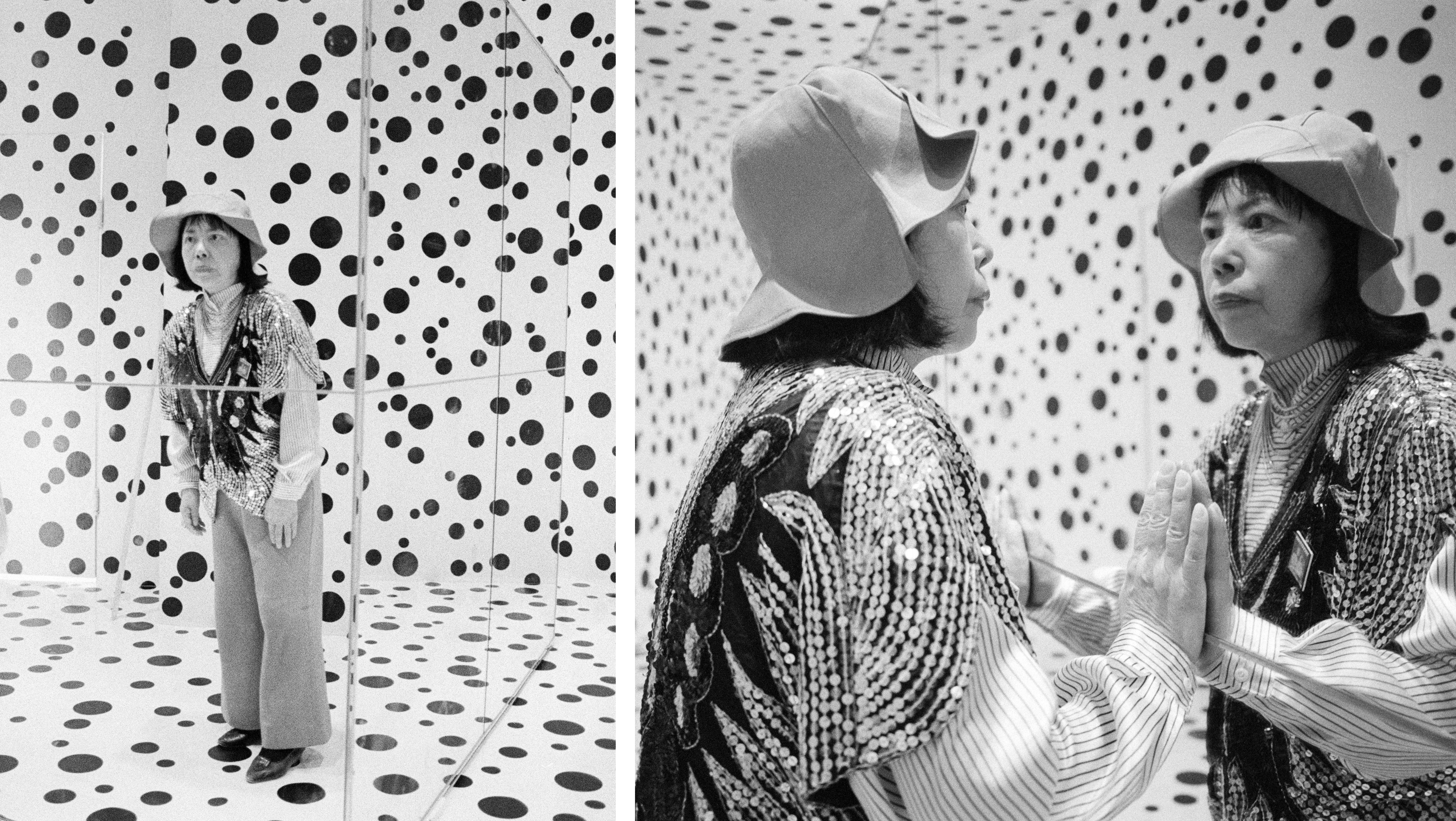 Kusama photographed by Majoli during her installation at the Venice Biennale in 1993.