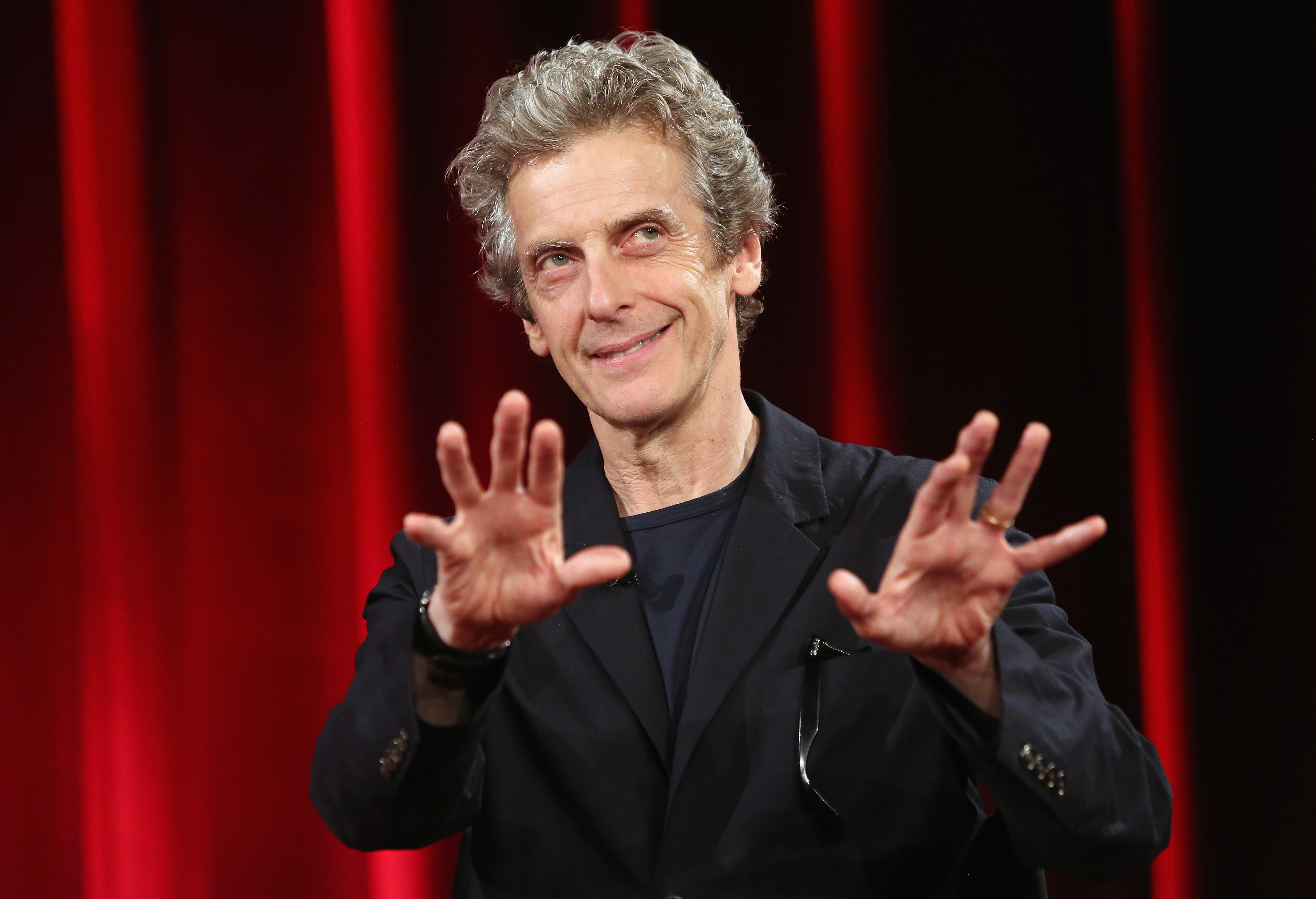 Peter Capaldi of the British television series Doctor Who speaks at the Apple Store on July 17, 2015 in Berlin, Germany.