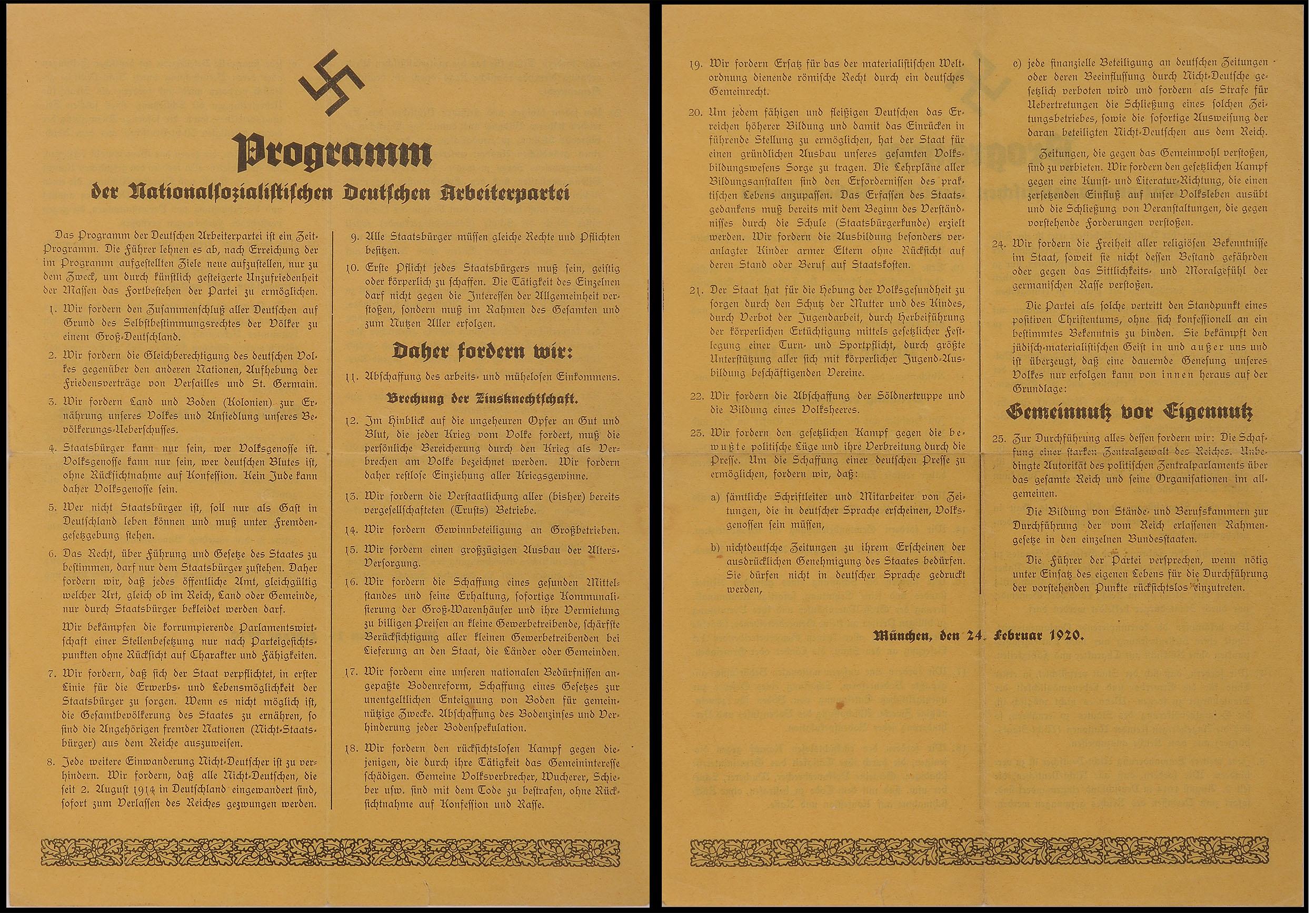 First political program of the National Socialist German Workers' Party (nsdap), Anton Drexler (1884-1942) and Adolf Hitler (1889-1945), Munich, Feb. 24, 1920