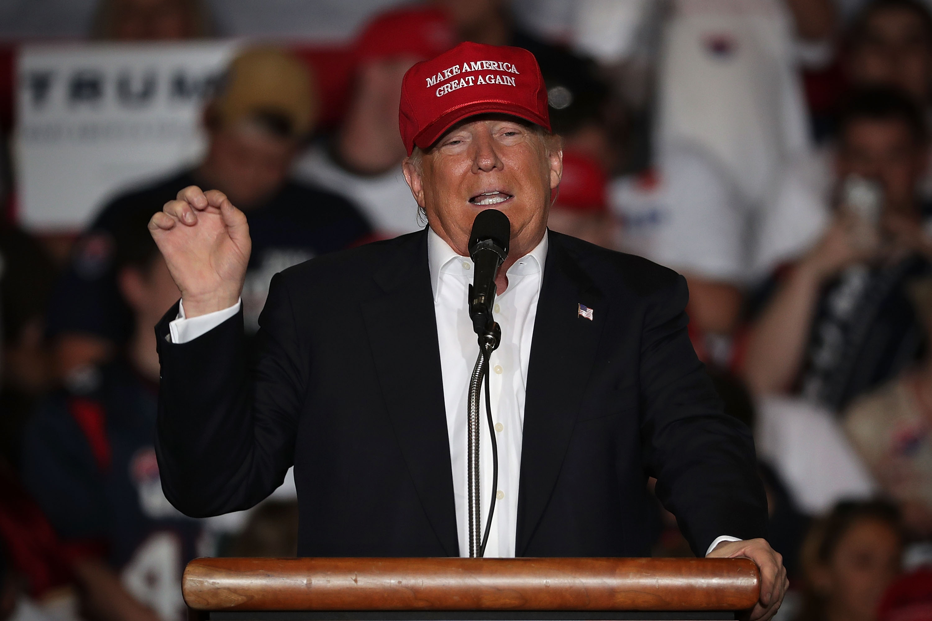 Republican presidential candidate Donald Trump speaks during a campaign rally on April 22, in Harrington, Delaware.