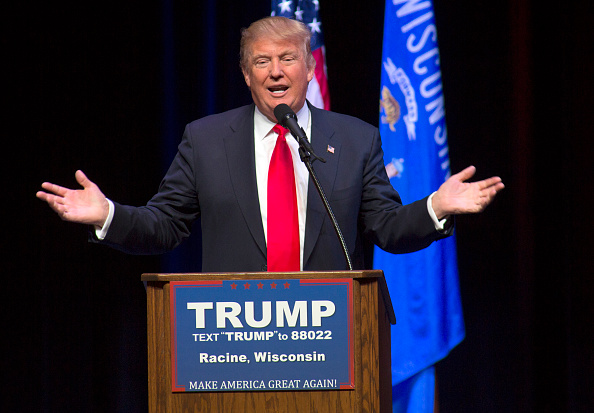 Republican presidential candidate Donald Trump speaks at a town hall event on April 2, in Racine, Wisconsin.