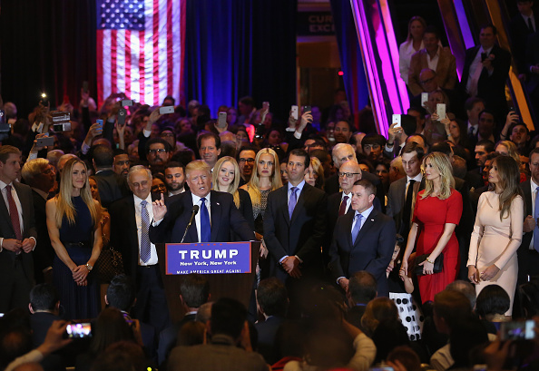 Republican Presidential candidate Donald Trump speaks after winning the New York state primary on April 19, 2016 in New York City.