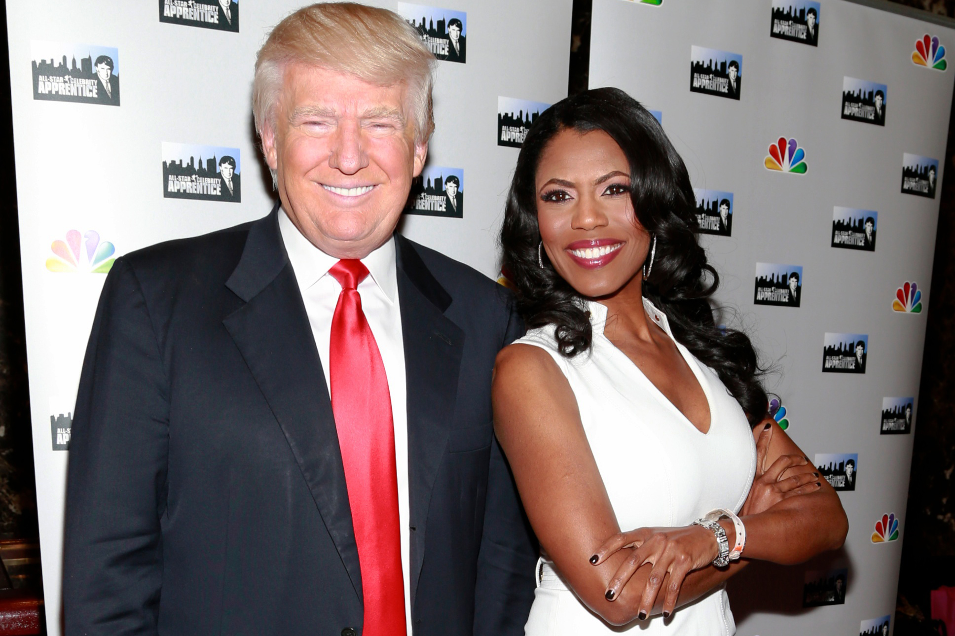 Donald Trump and Omarosa Manigault at Trump Tower on April 1, 2013 in New York.