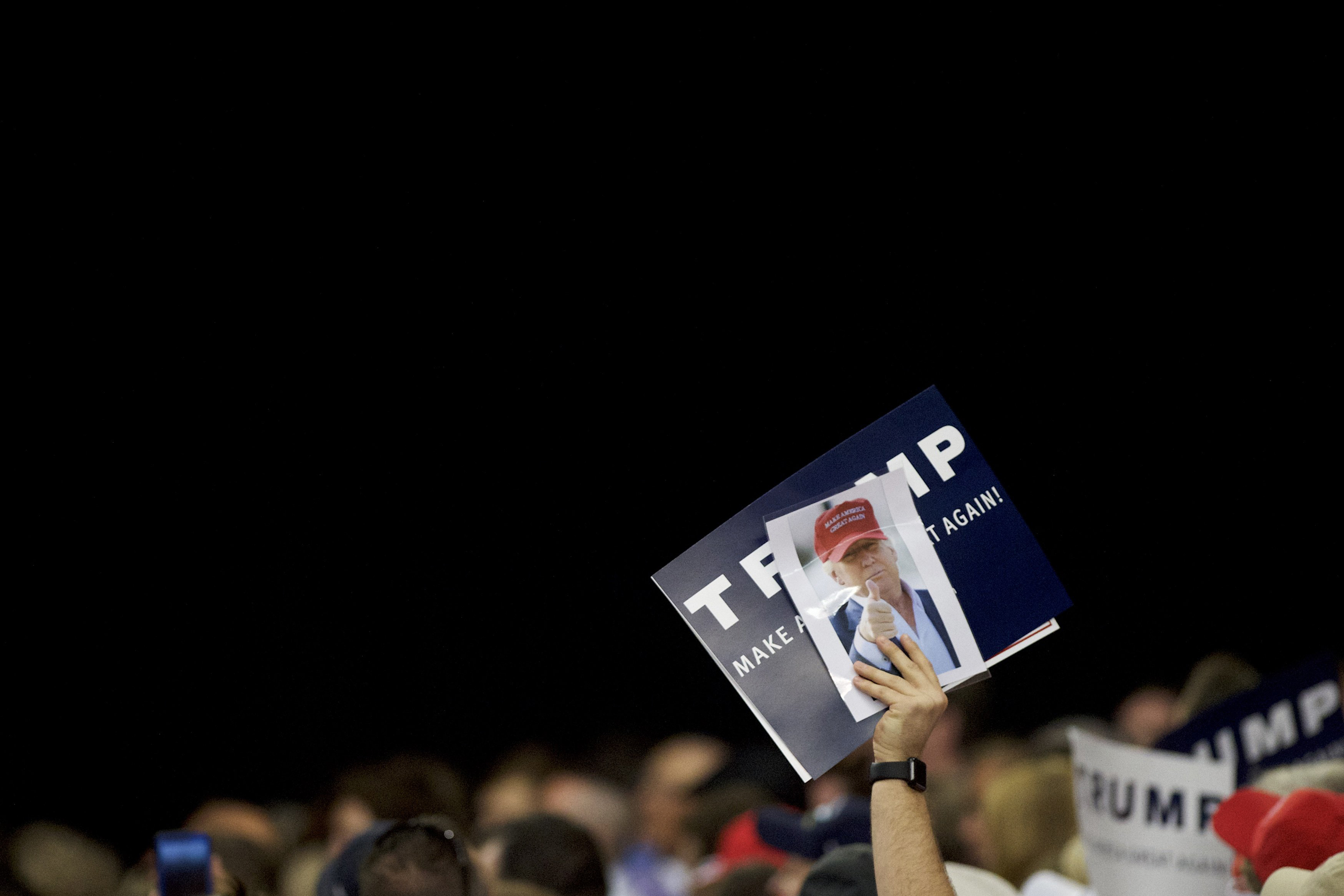 A Donald Trump supporter during a rally at the Pennsylvania Farm Show Complex & Expo Center in Harrisburg, Pa., on April 21, 2016.