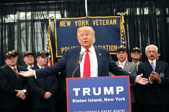 Donald Trump speaks at a press conference for the New York Veterans Police Association  at the Hilton Garden Inn on April 17, 2016 in  Staten Island.