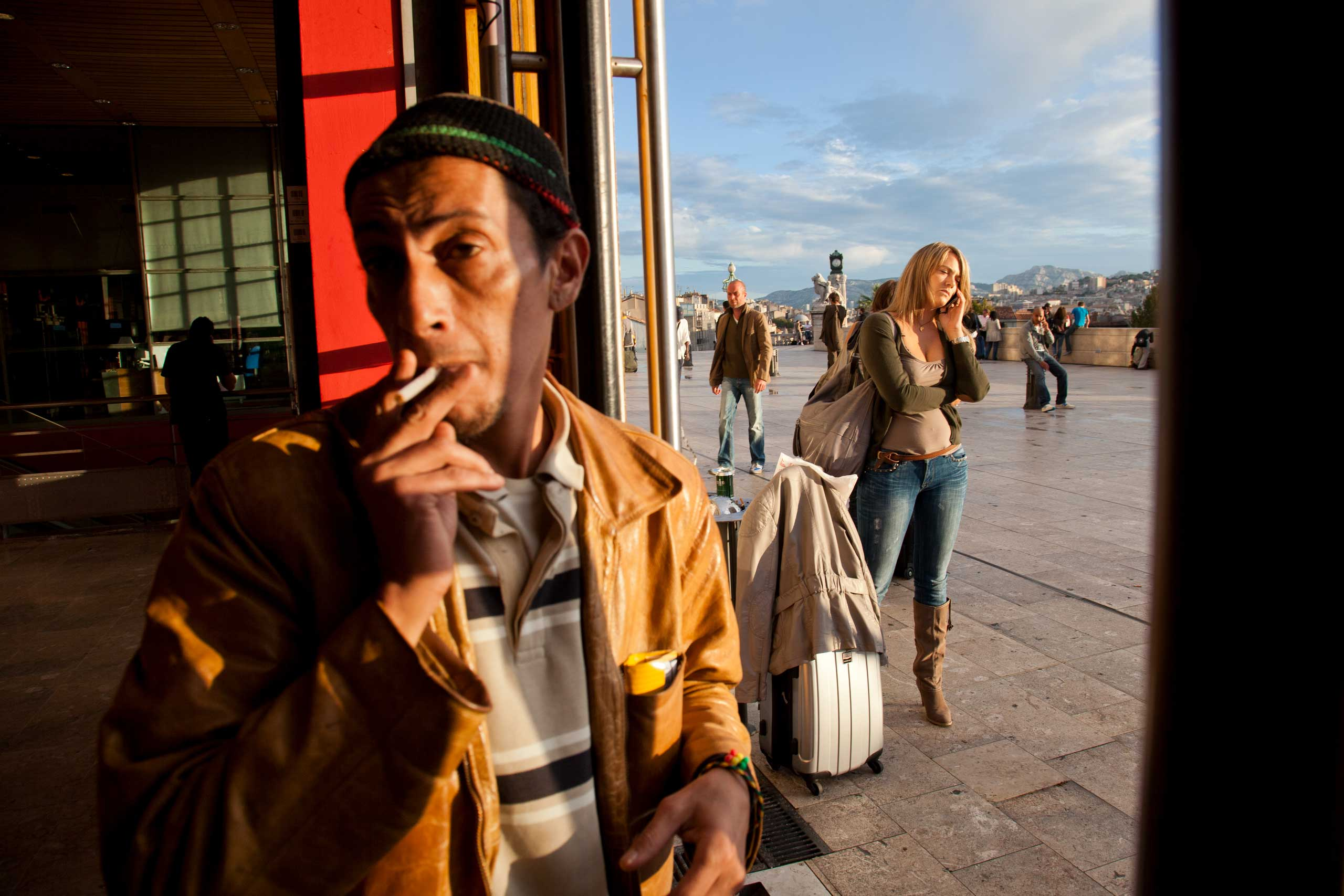 People congregate at the Gare St. Charles, the main train station in Marseille, France on Sept.24, 2010.