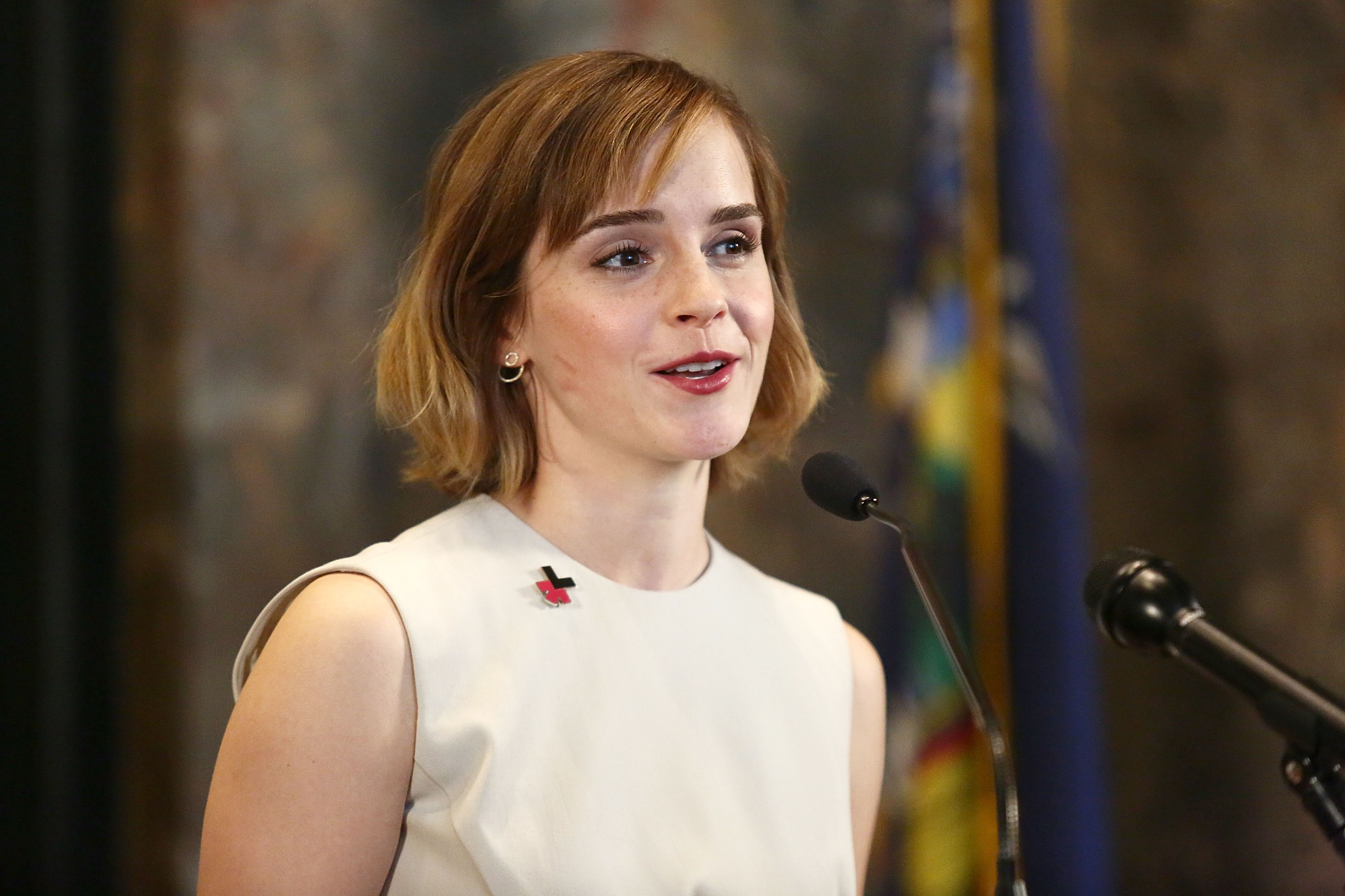 Actress Emma Watson speaks during The Empire State Building lighting In HeForShe Magenta For International Women's Day at The Empire State Building on March 8, 2016 in New York City.