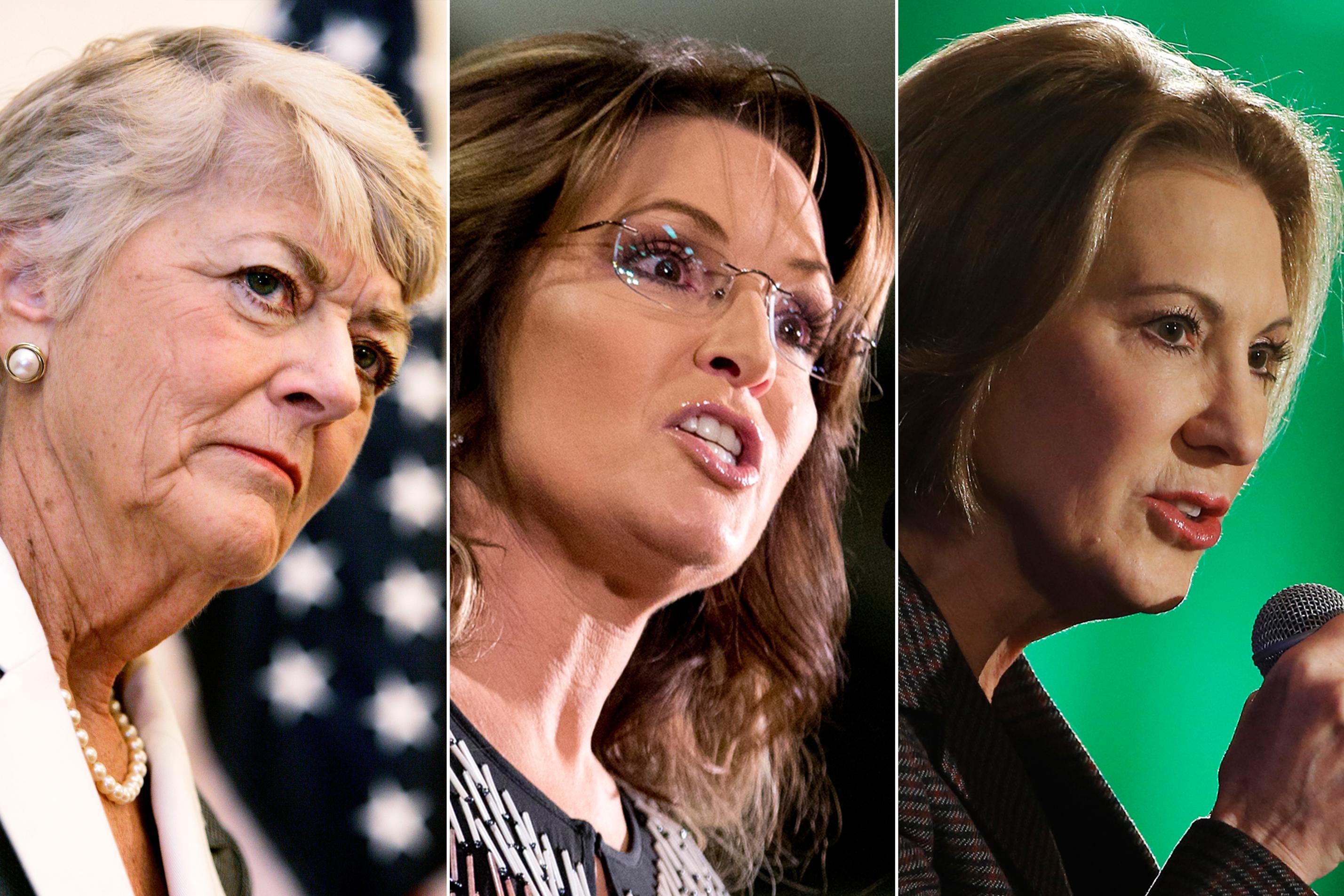 Geraldine Ferraro in Chicago, on May 4, 2007 (L); Sarah Palin in Ames, Iowa on Jan. 19, 2016 (C); Carly Fiorina in Nashua, NH on Jan. 23, 2016.