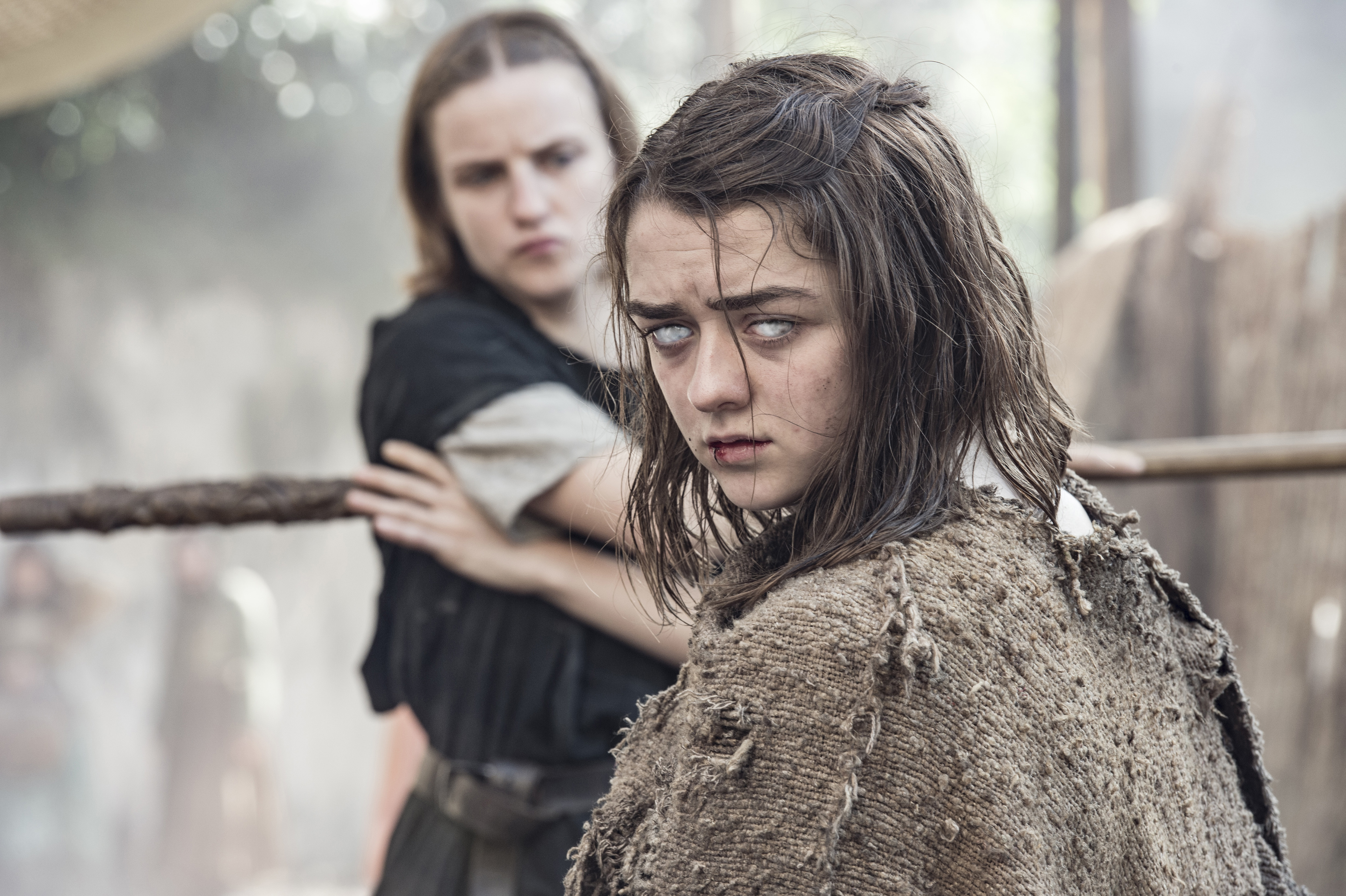 Faye Marsay and Maisie Williams in season 6, episode 1 of Game of Thrones.