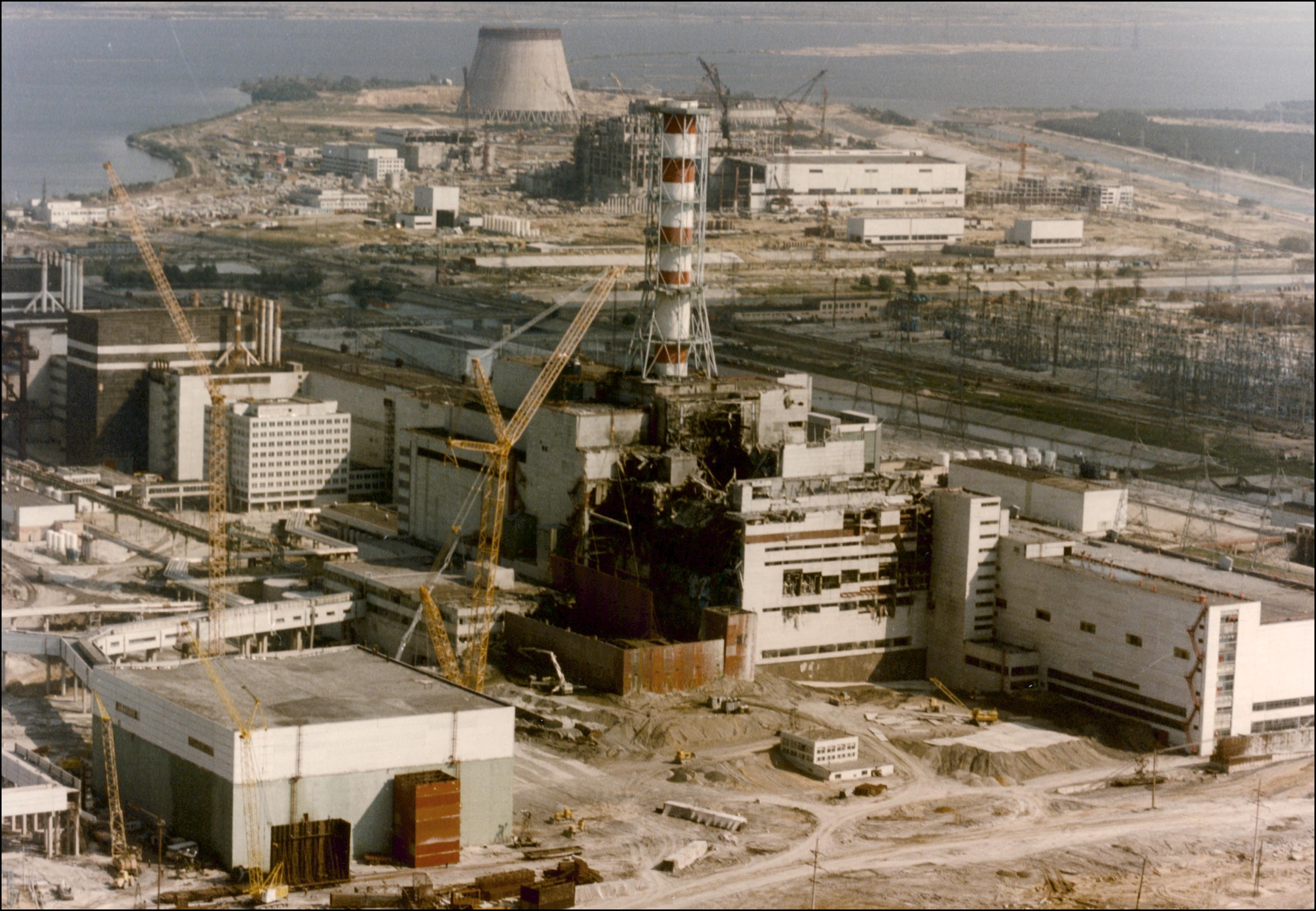 View of the Chernobyl Nuclear power plant three days after the explosion, on April 29, 1986 in Chernobyl, Ukraine.