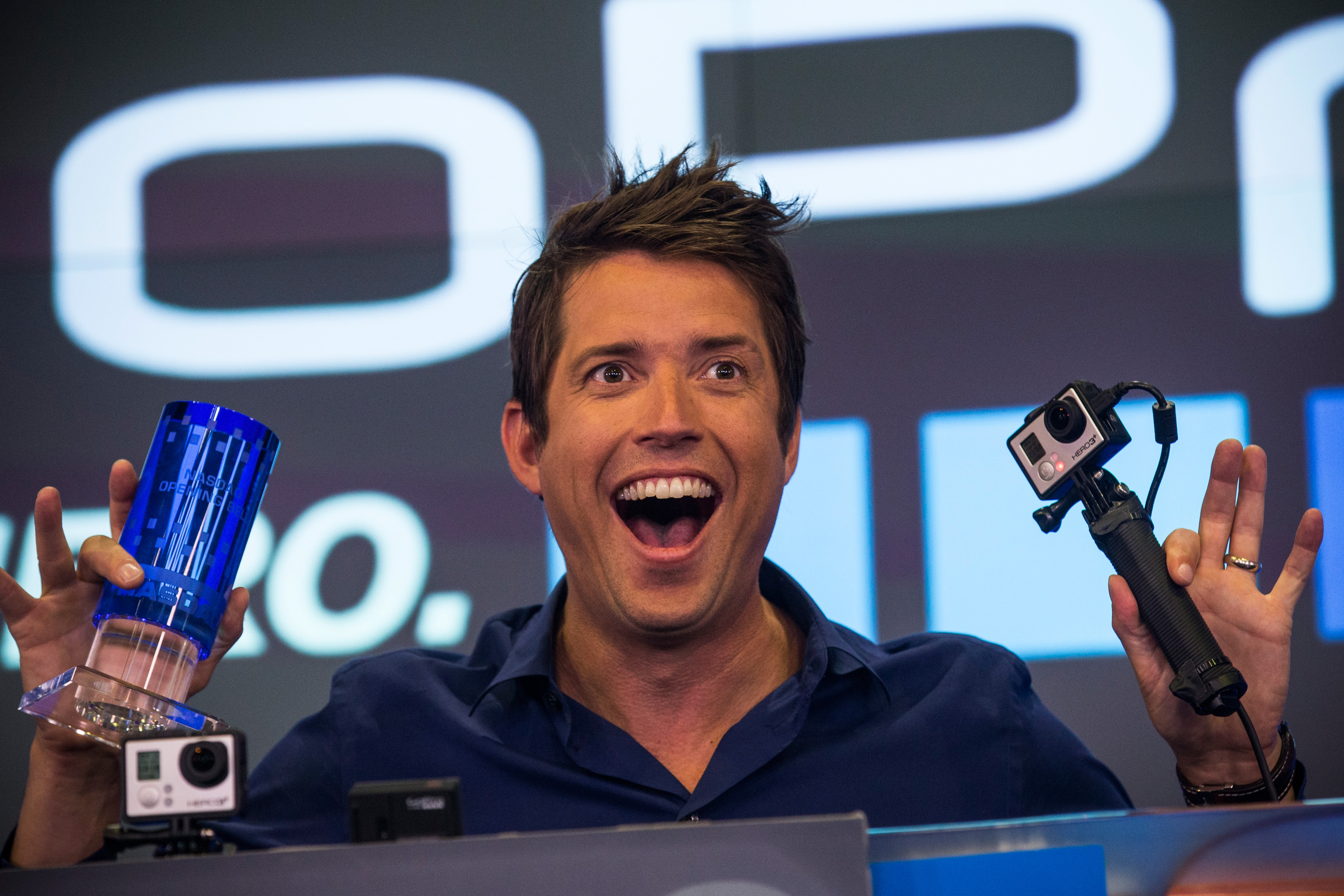 Nick Woodman, founder and CEO of GoPro speaks during the company's initial public offering (IPO) at the Nasdaq Stock Exchange on June 26, 2014 in New York City.