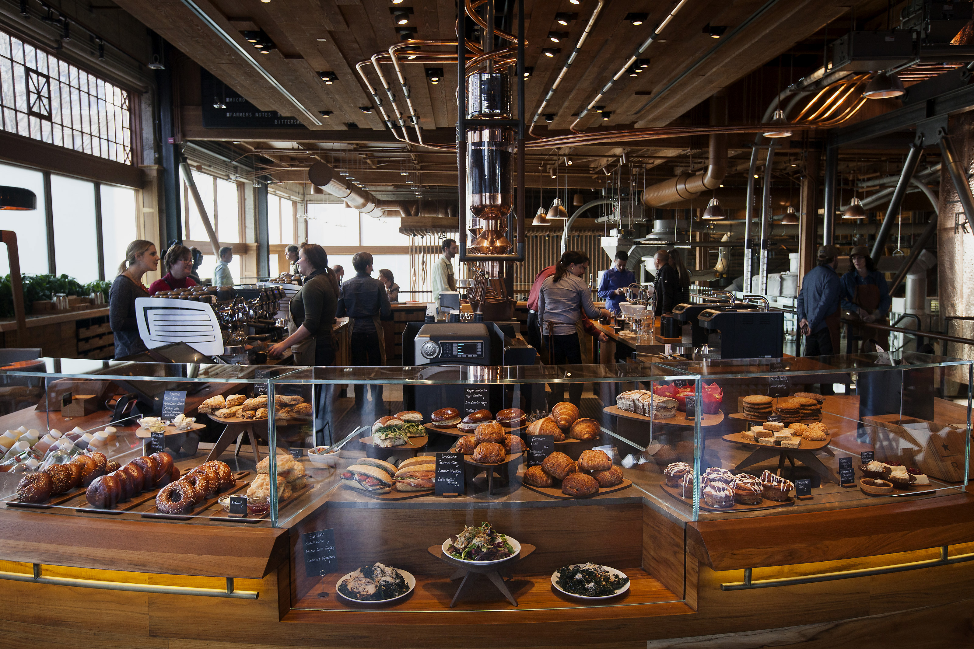 Food sits on display at the Starbucks Corp. Reserve Roastery and Tasting Room in Seattle, Washington, U.S., on Dec. 3, 2014.