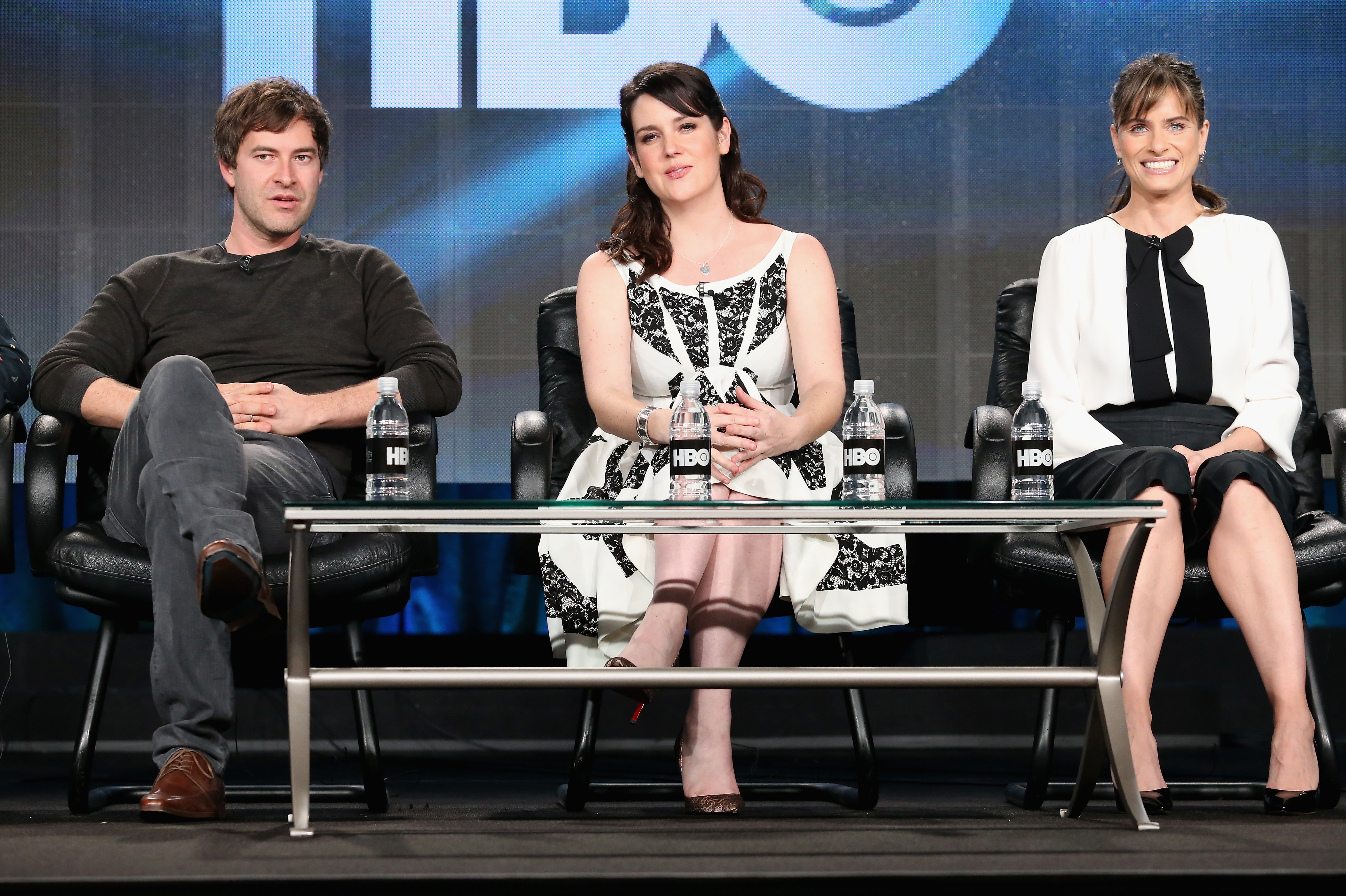 (L-R) Writer/Director Mark Duplass, and actors Melanie Lynskey and Amanda Peet, speak onstage during the 'Togetherness' panel at the HBO portion of the 2015 Winter Television Critics Association press tour at the Langham Hotel on January 8, 2015 in Pasadena, California.