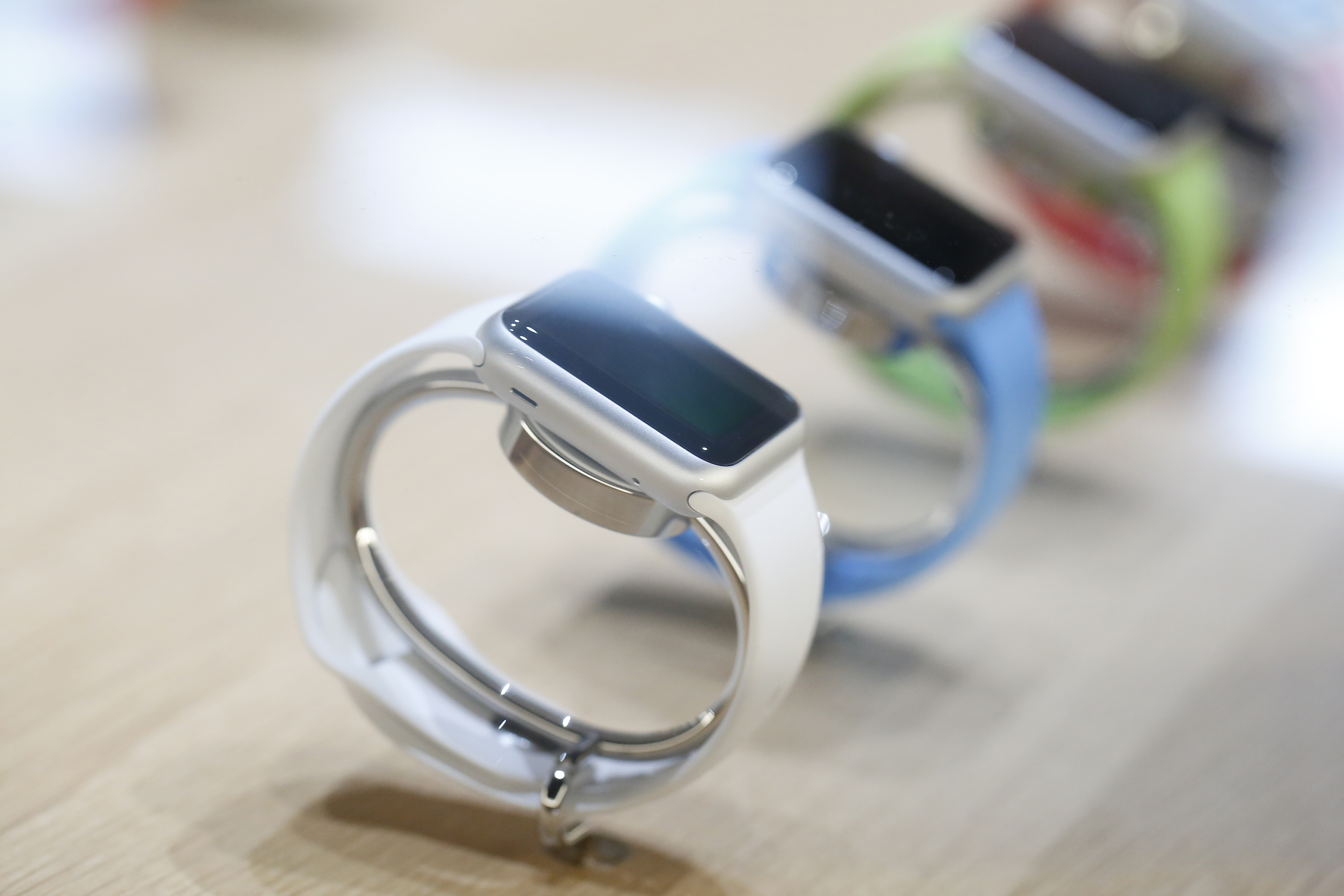 The new Apple Watch is seen on display after an Apple special event at the Yerba Buena Center for the Arts on March 9, 2015 in San Francisco, California.