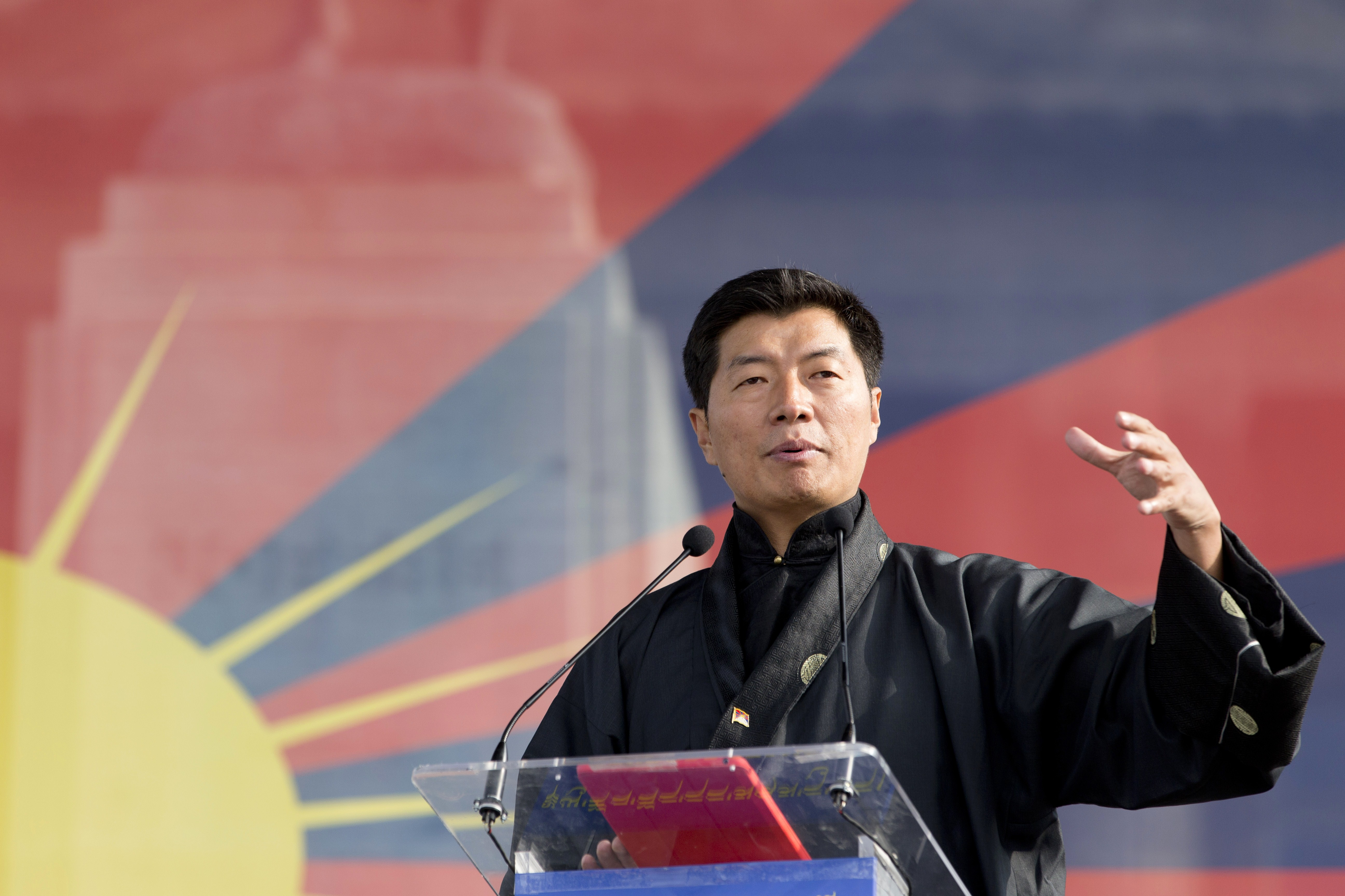 Lobsang Sangay, Sikyong (prime minister) of the Tibetan Government-in-Exile, delivers a speech during a European rally marking a failed 1959 uprising against China on March 14, 2015 in Paris.