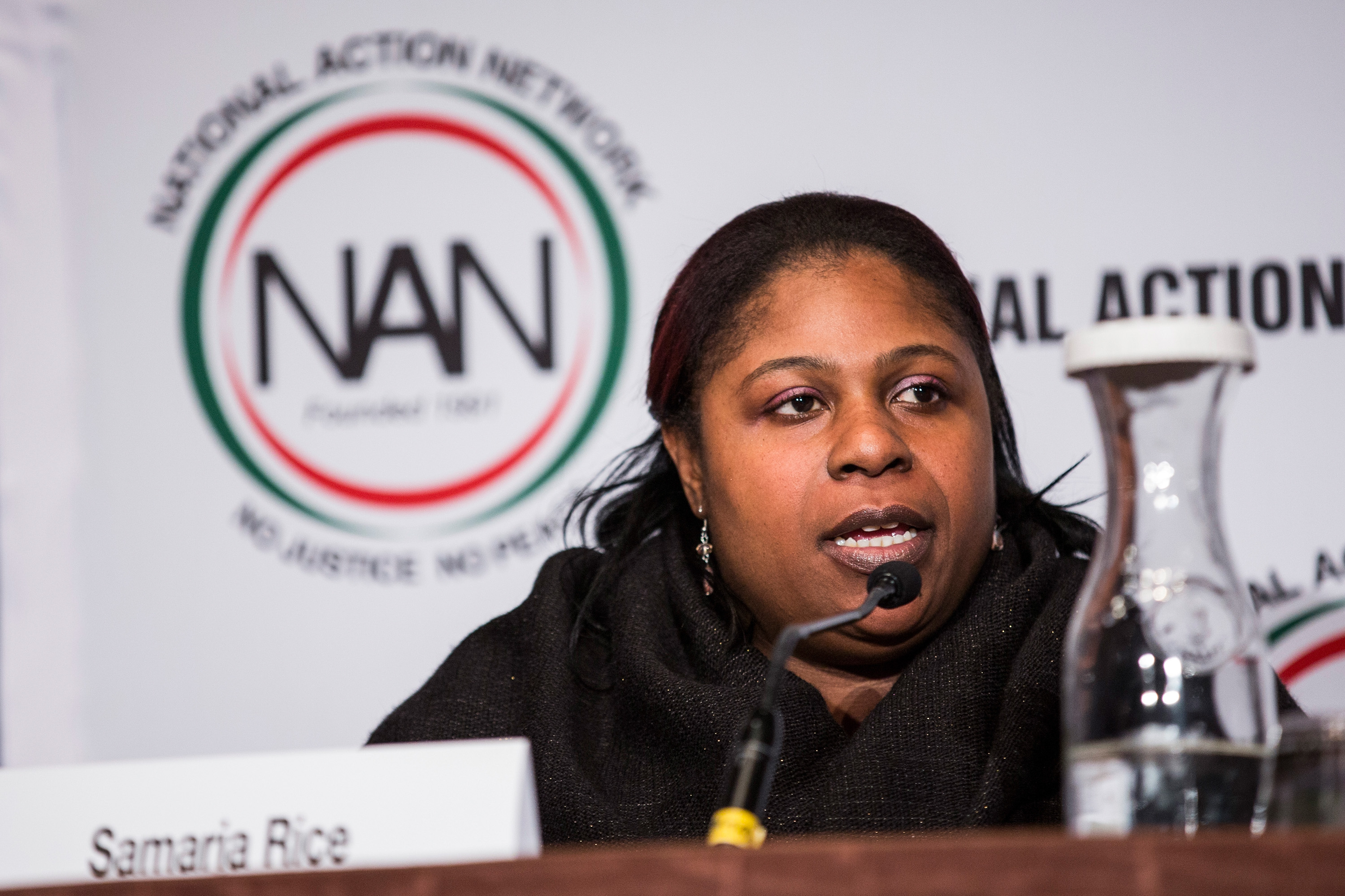 Samaria Rice, mother of Tamir Rice- who was shot to death by a police officer - speak on a panel titled  The Impact of Police Brutality - The Victims Speak  at the National Action Network (NAN) national convention on April 8, 2015 in New York City. Andrew Burton—Getty Images