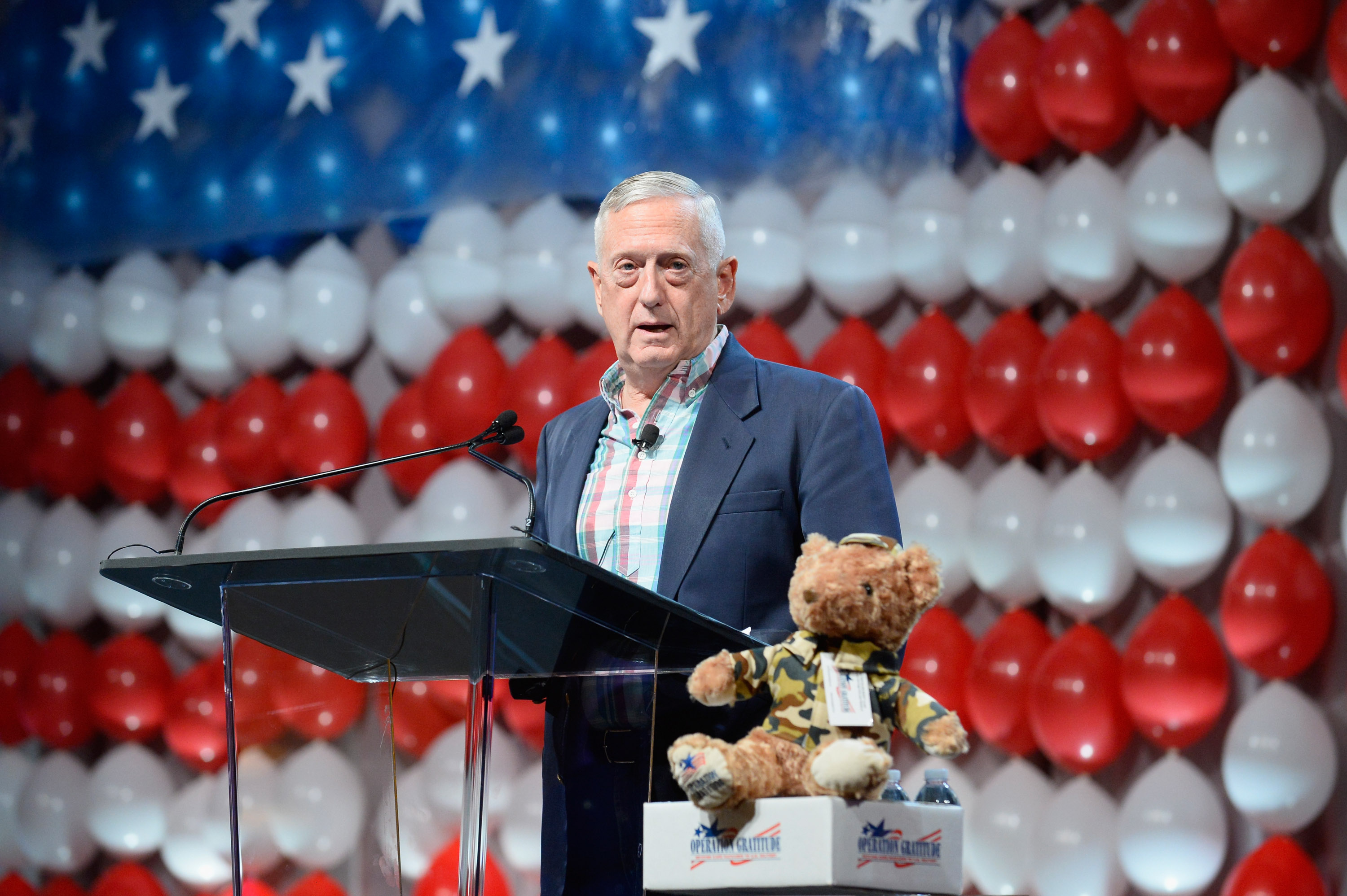 Retired Marine General Jim Mattis speaks in Las Vegas last July.