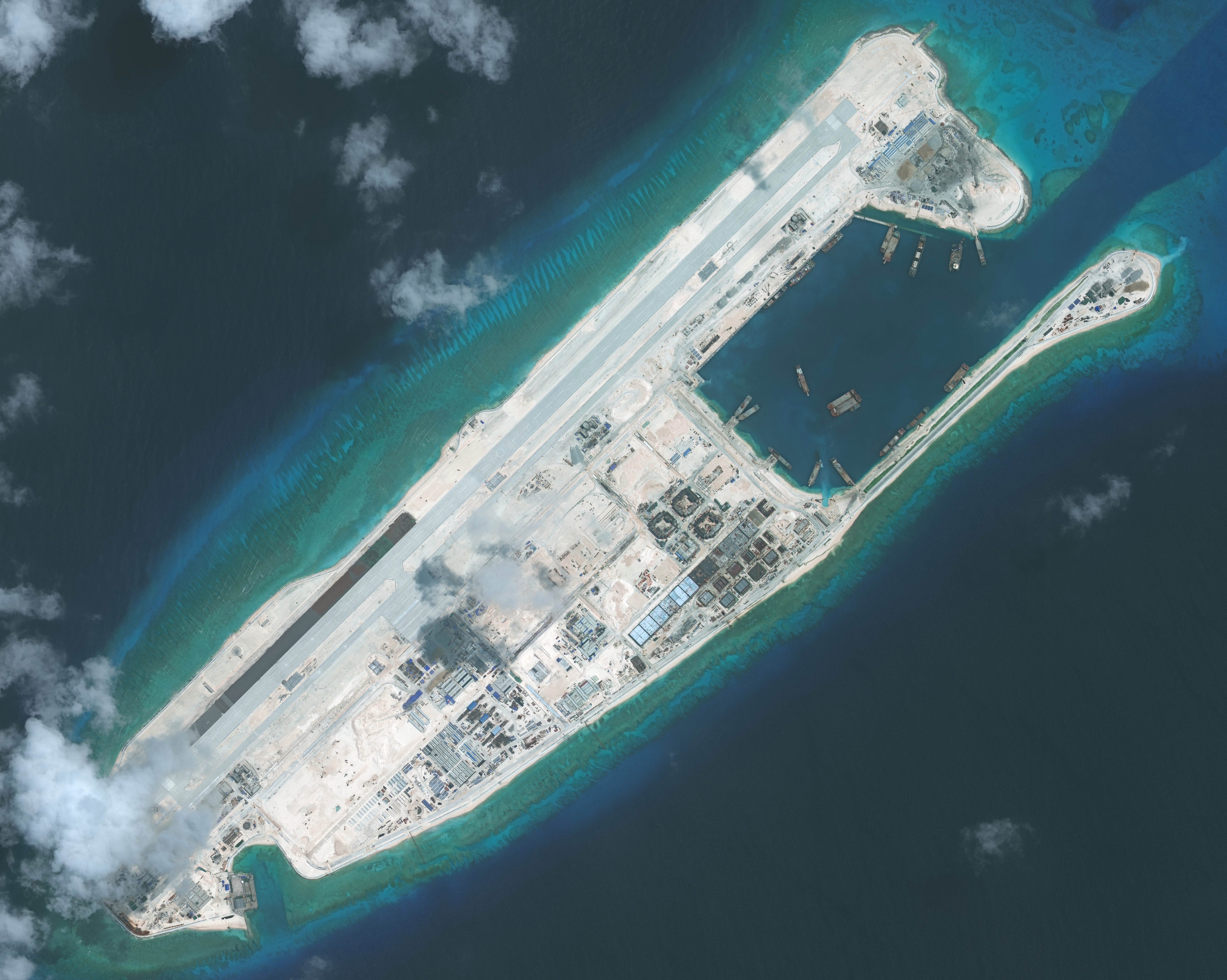 DigitalGlobe imagery of the nearly completed construction within the Fiery Cross Reef located in the South China Sea