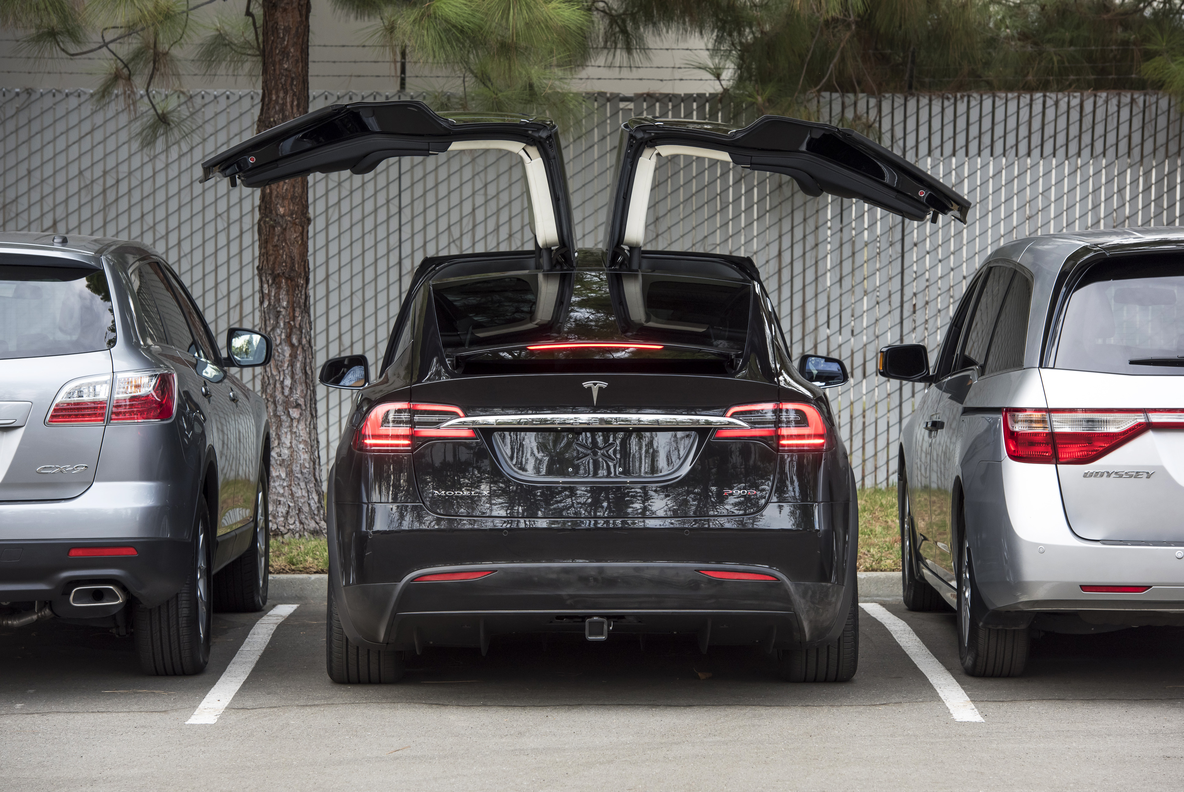 The Tesla Motors Inc. Model X sport utility vehicle (SUV) is displayed during an event in Fremont, California, U.S., on Tuesday, Sept. 29, 2015.