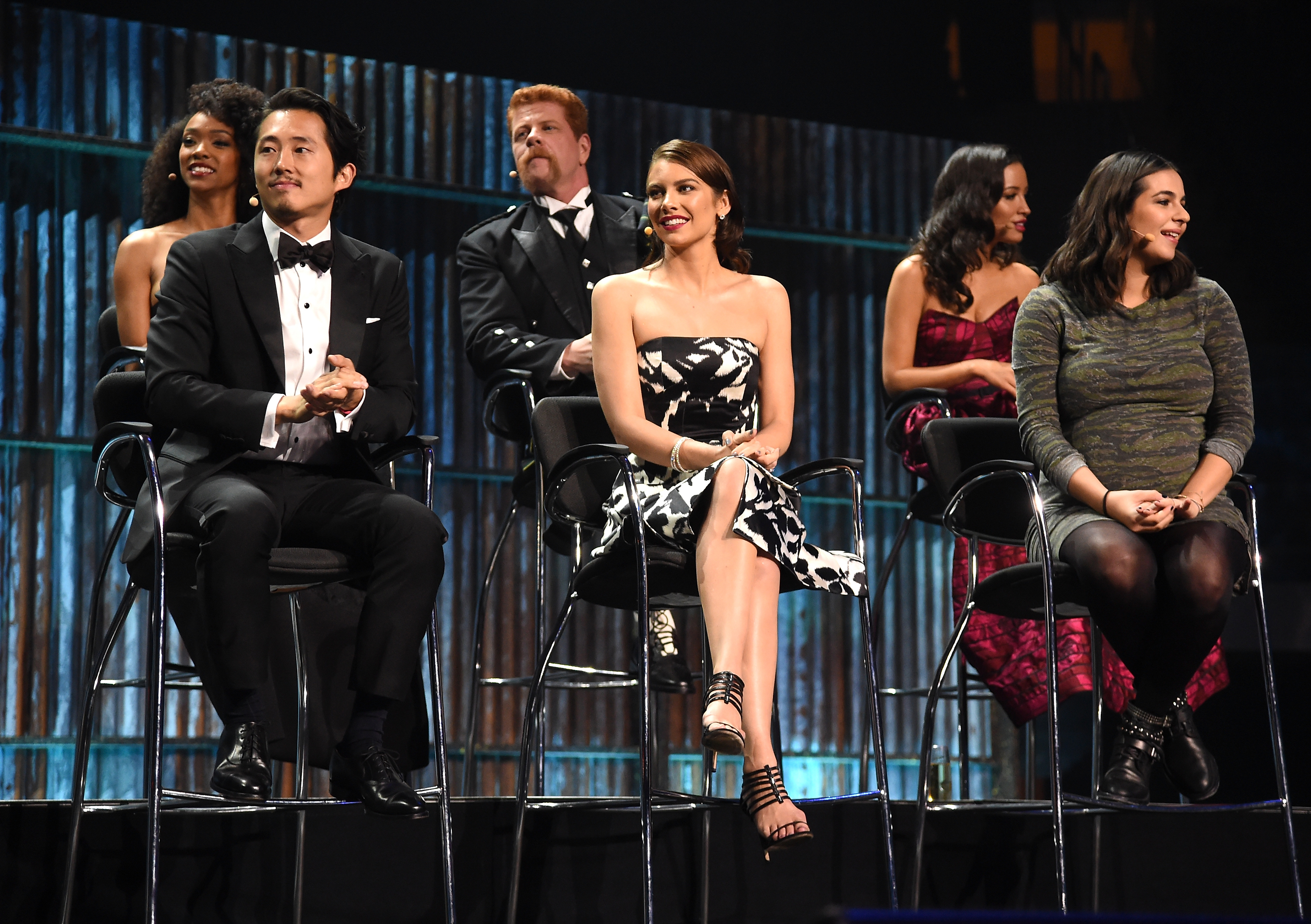 Steven Yeun, Sonequa Martin, Michael Cudlitz, Lauren Cohan, Christian Serratos and Alanna Masterson speak at the AMC's  The Walking Dead  Season 6 Fan Premiere Event Oct. 9, 2015 in New York City.
