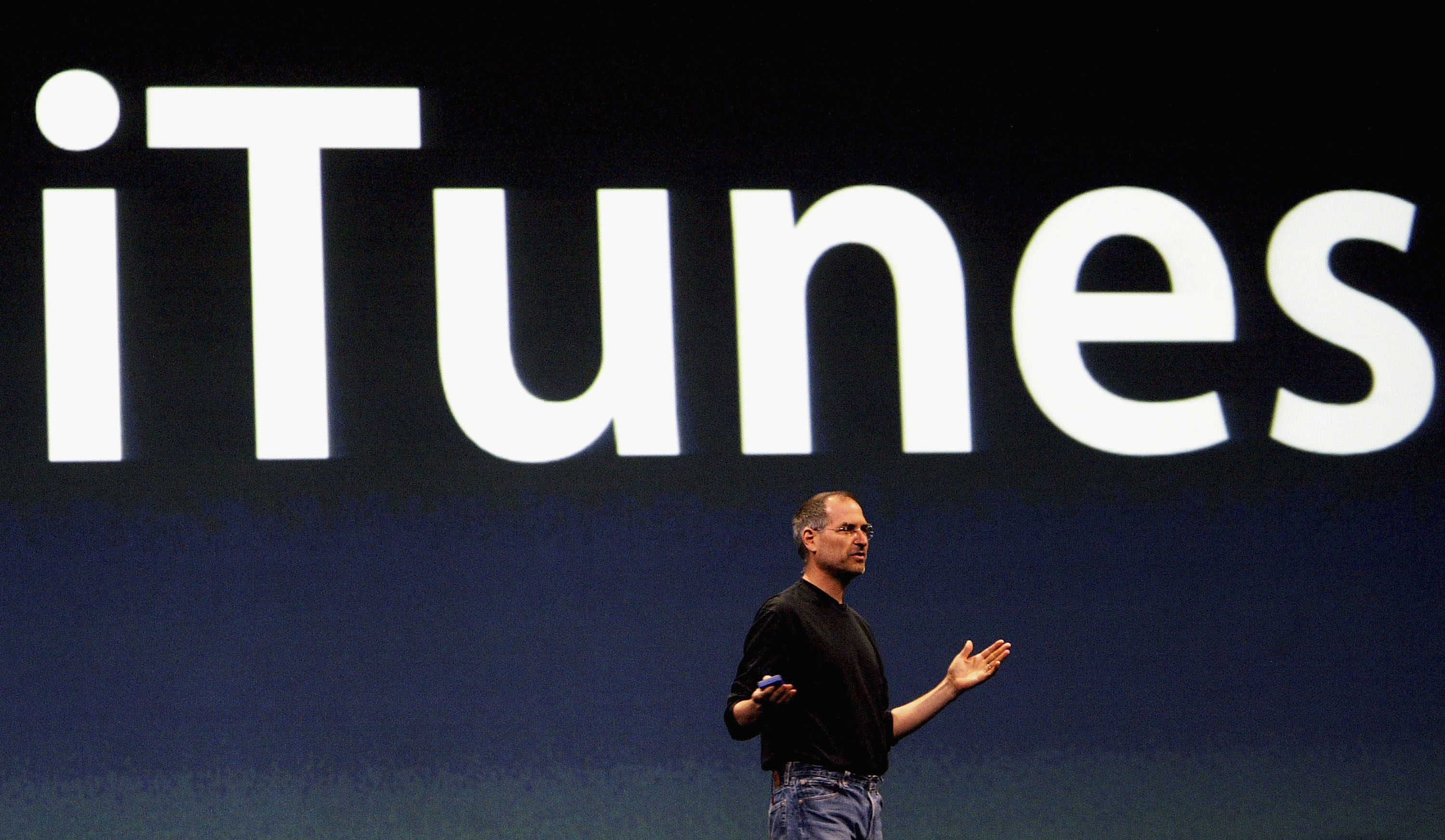Steve Jobs, Chief Executive Officer of Apple computers, launches iTunes Music Store in the territories of Great Britain, Germany and France, on June 15, 2004 in London.