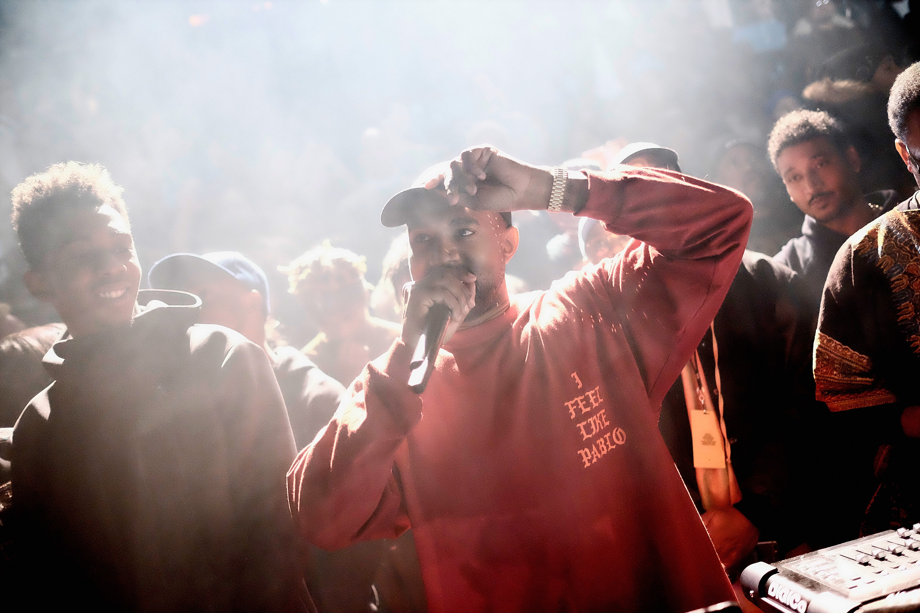Kanye West performs during Kanye West Yeezy Season 3 on Feb. 11, 2016, in New York City