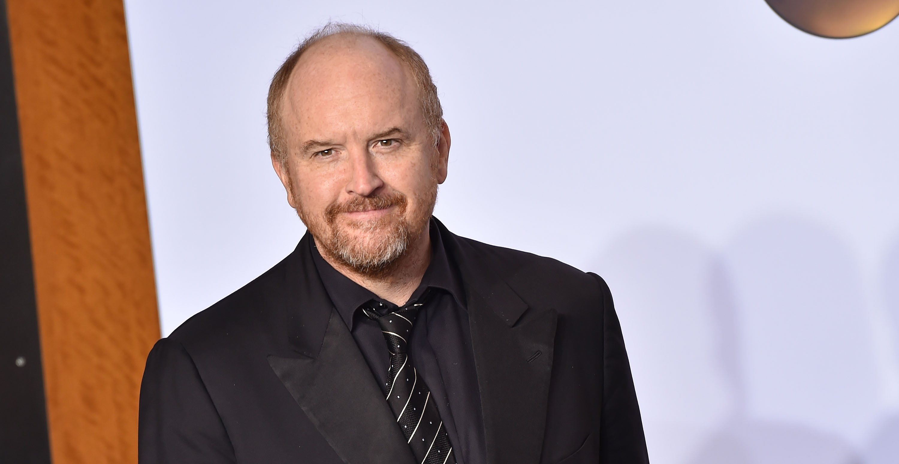 Comedian Louis C.K. poses in the press room during the 88th Annual Academy Awards at Loews Hollywood Hotel on Feb. 28, 2016 in Hollywood, Calif.