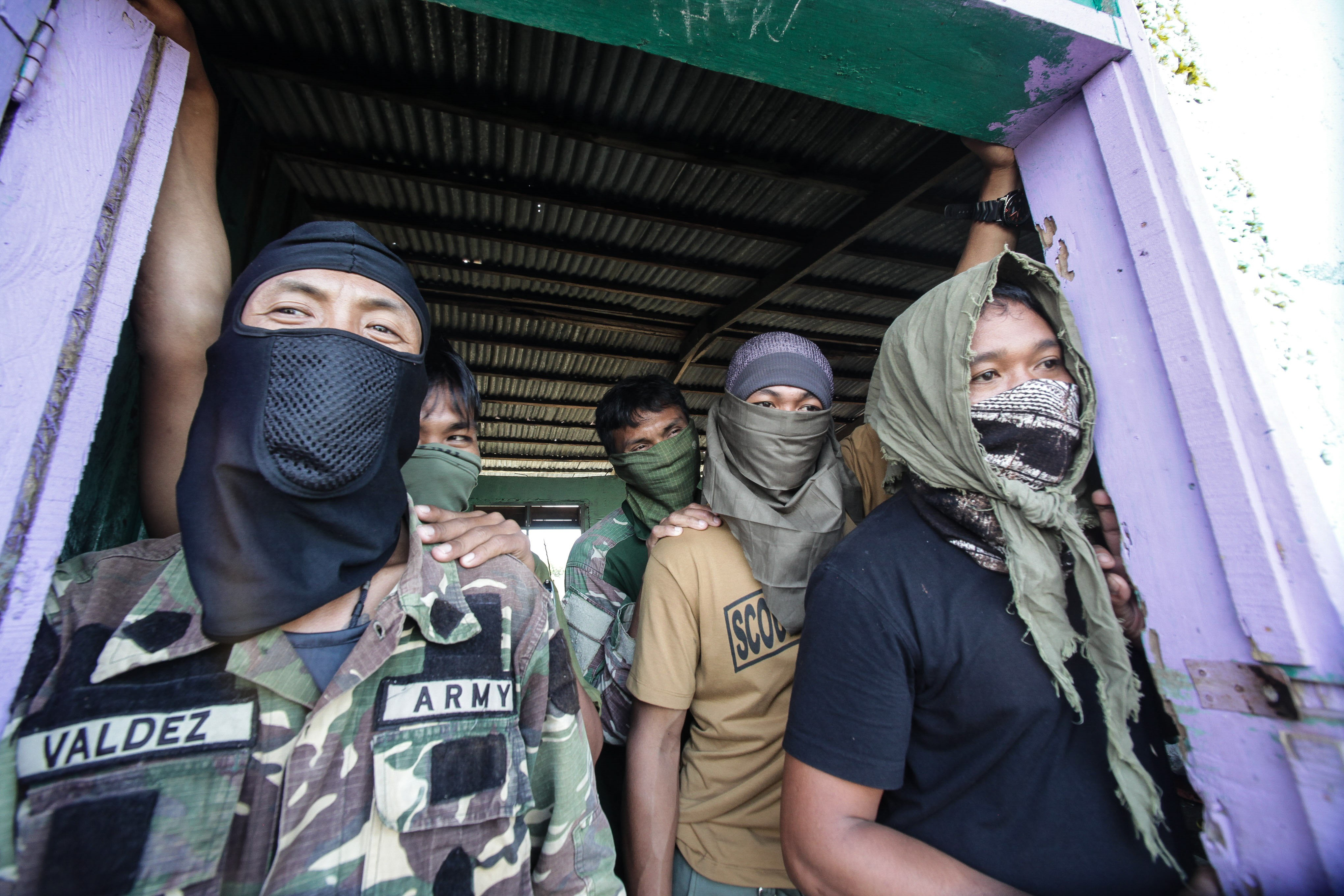 Philippine army soldiers stage a counterterrorism operation against Maute terrorists, who are allegedly linked with ISIS, in  Butig, the Philippine province of Lanao Del Sur, in Mindanao Island, on March 1, 2016