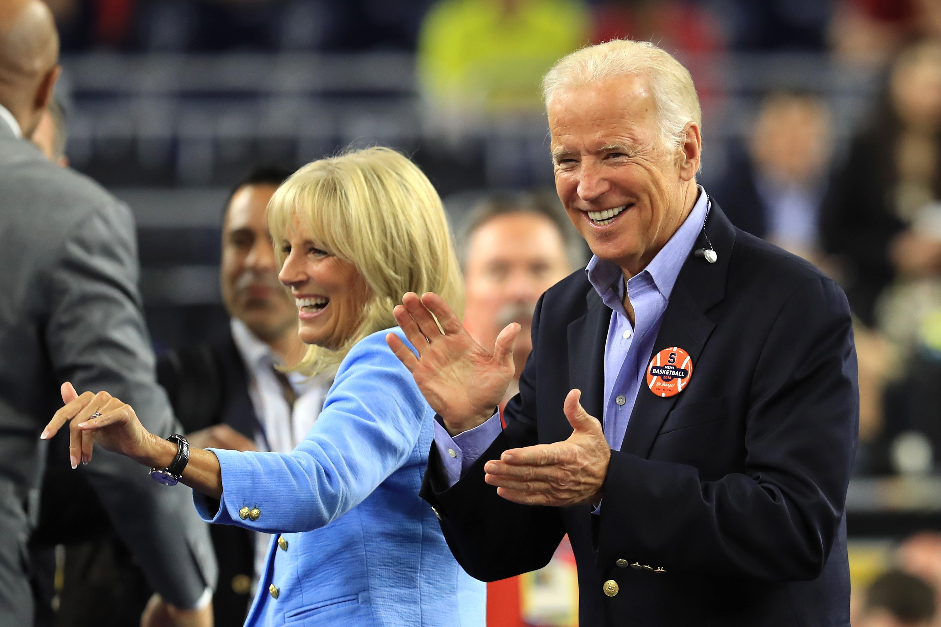 Vice President Joe Biden, right, and wife Jill Biden react prior to the NCAA Men's Final Four Semifinal between the Villanova Wildcats and the Oklahoma Sooners at NRG Stadium on April 2, 2016 in Houston, Texas.  Streeter Lecka—Getty Images