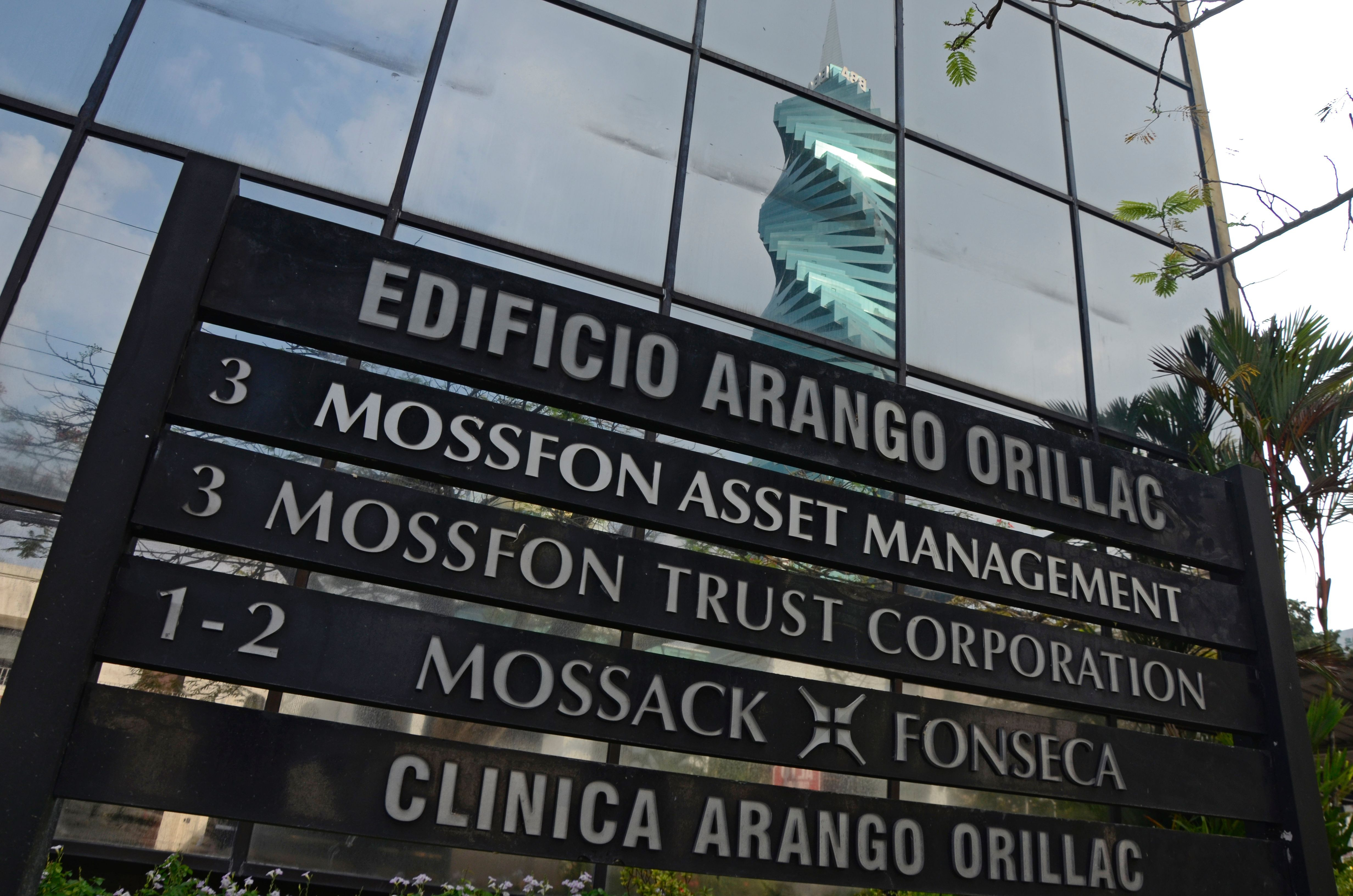 View of a sign outside the building where Panama-based Mossack Fonseca law firm offices are placed in Panama City on April 3, 2016.