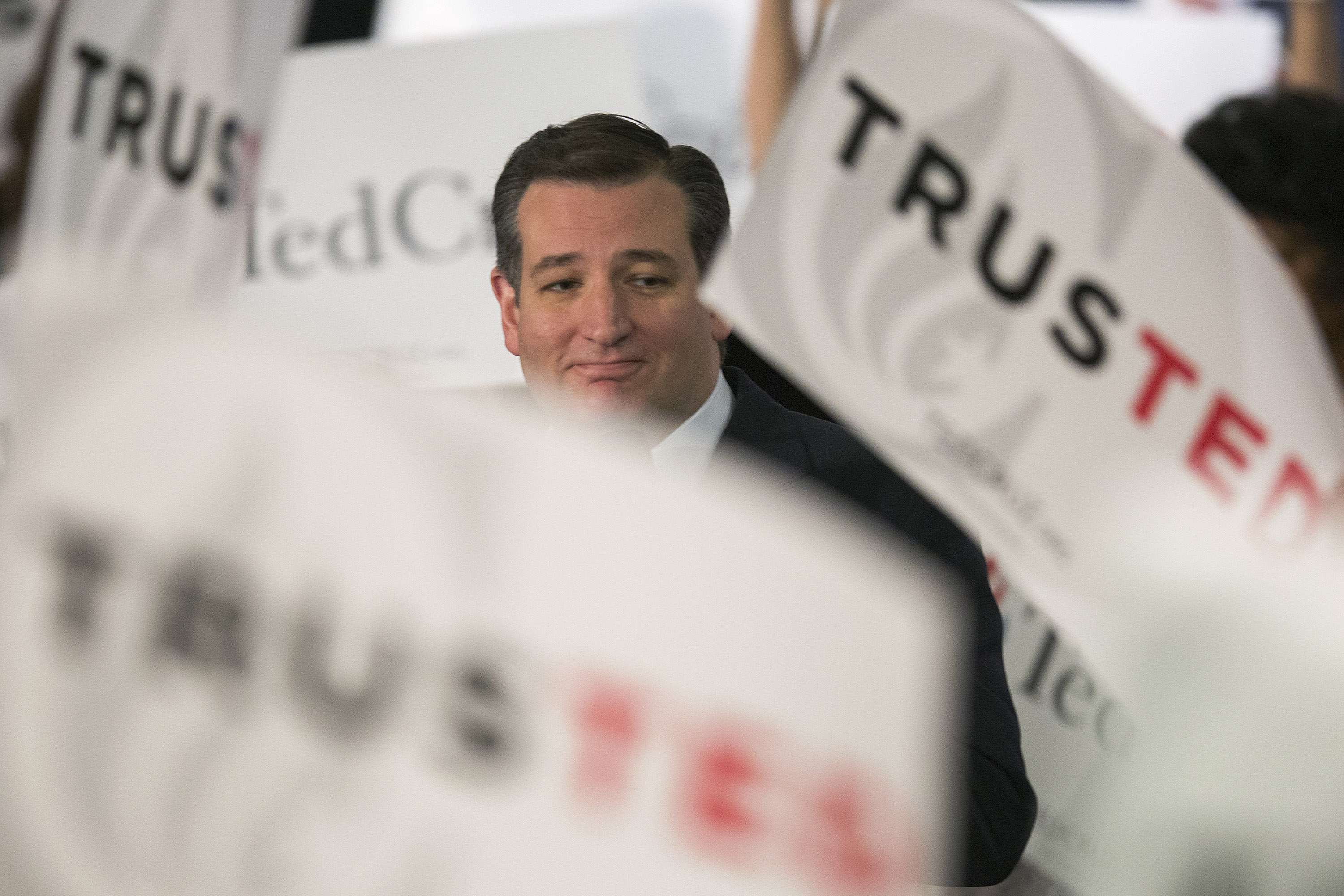 Sen. Ted Cruz (R-TX) attends a campaign rally on April 11, 2016 in Irvine, California.