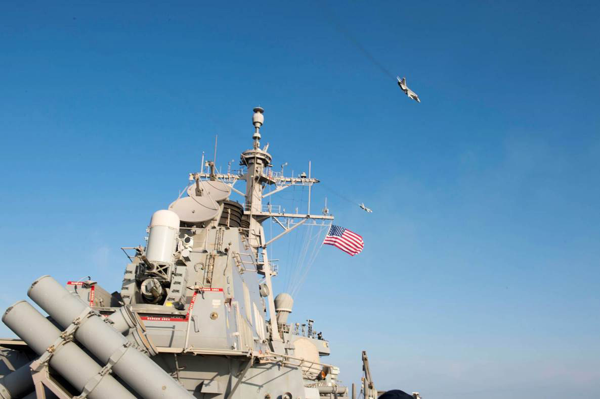 In this handout photo provided by the U.S. Navy, Two Russian Sukhoi Su-24 attack aircraft fly over the USS Donald Cook (DDG 75) on April 12, 2016 in the Baltic Sea. Donald Cook, an Arleigh Burke-class guided-missile destroyer forward deployed to Rota, Spain, is conducting a routine patrol in the U.S. 6th Fleet area of operations in support of U.S. national security interests in Europe.
