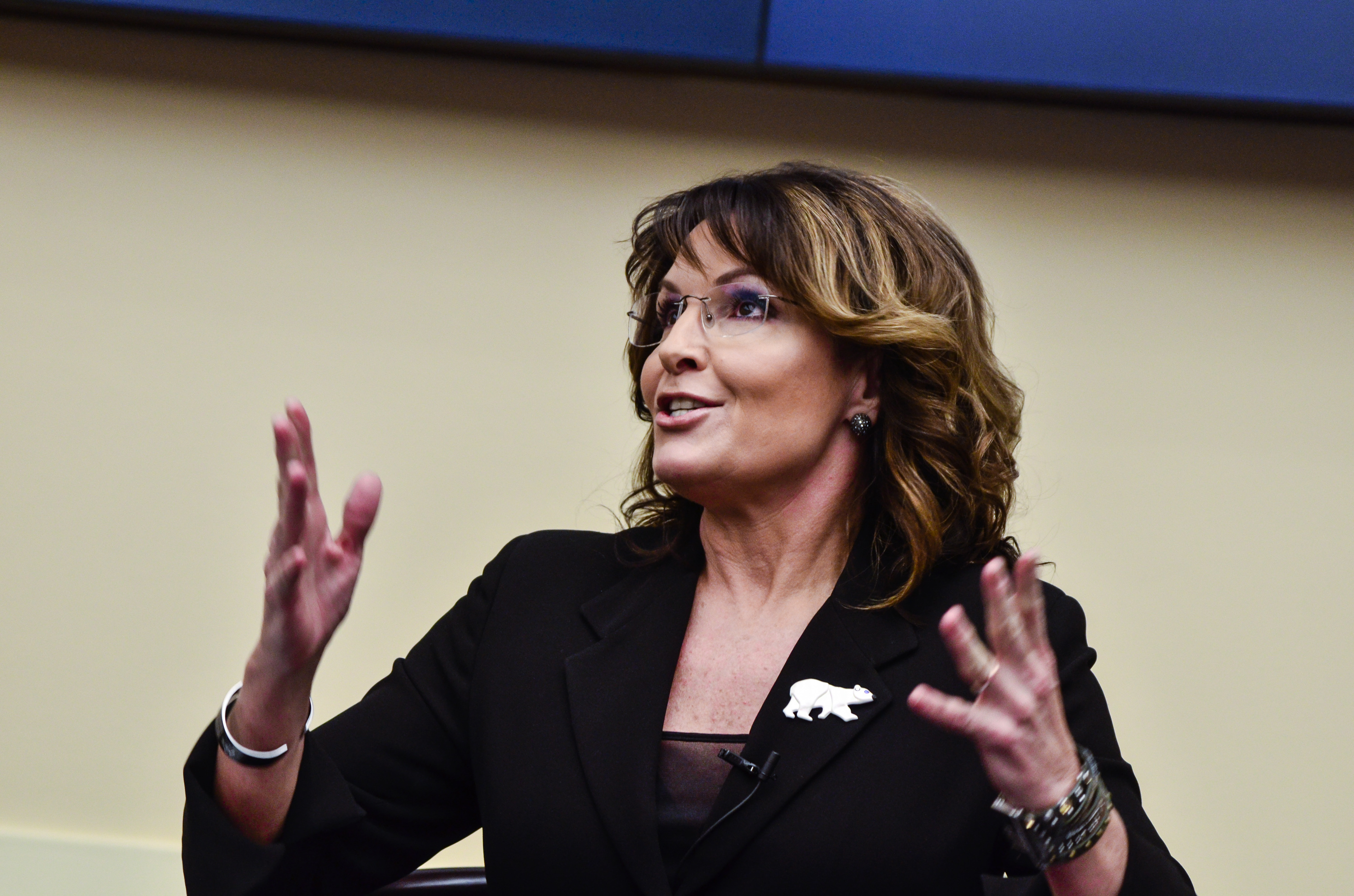 WASHINGTON, DC - APRIL 14: Former Governor Sarah Palin speaks during the  Climate Hustle  panel discussion at the Rayburn House Office Building on April 14, 2016 in Washington, DC. (Kris Connor/Getty Images)