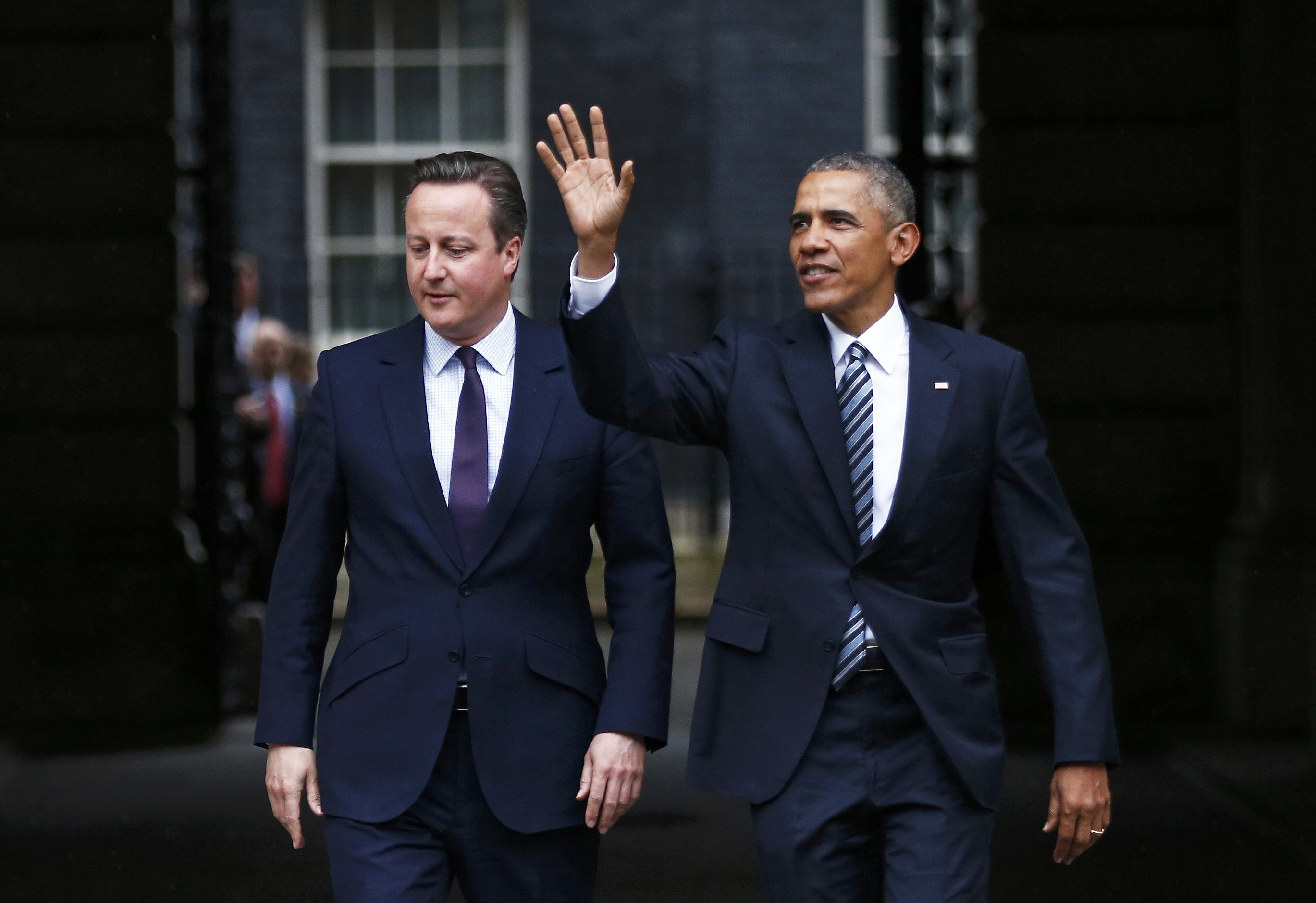 British Prime Minister David Cameron and US President Barack Obama leave Downing Street after their meeting on April 22, 2016 in London, England.  WPA Pool—Getty Images