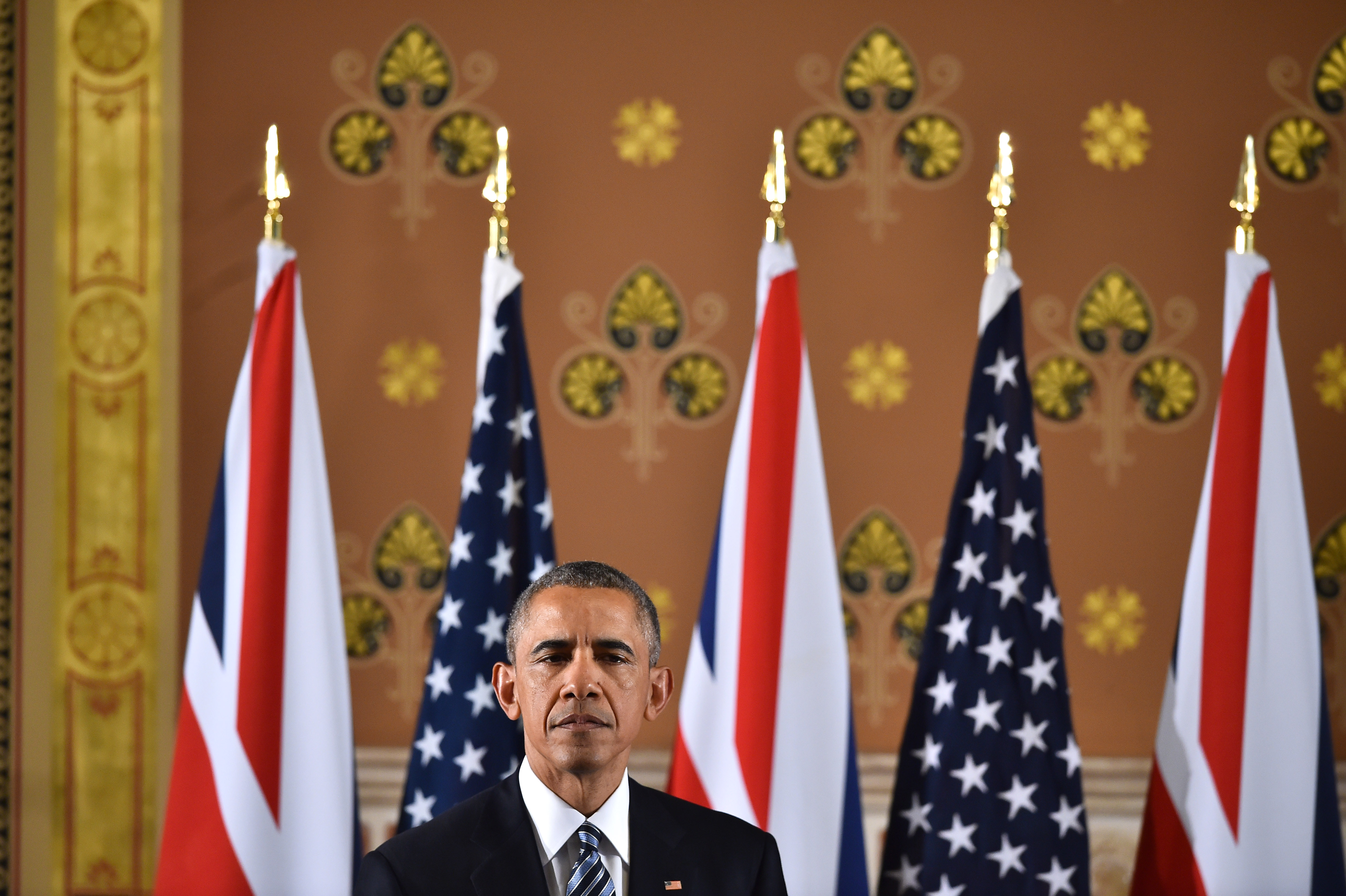 US President Barack Obama speaks during a press conference with British Prime Minister David Cameron at the Foreign and Commonwealth Office on April 22, 2016 in London, England.  WPA Pool—Getty Images