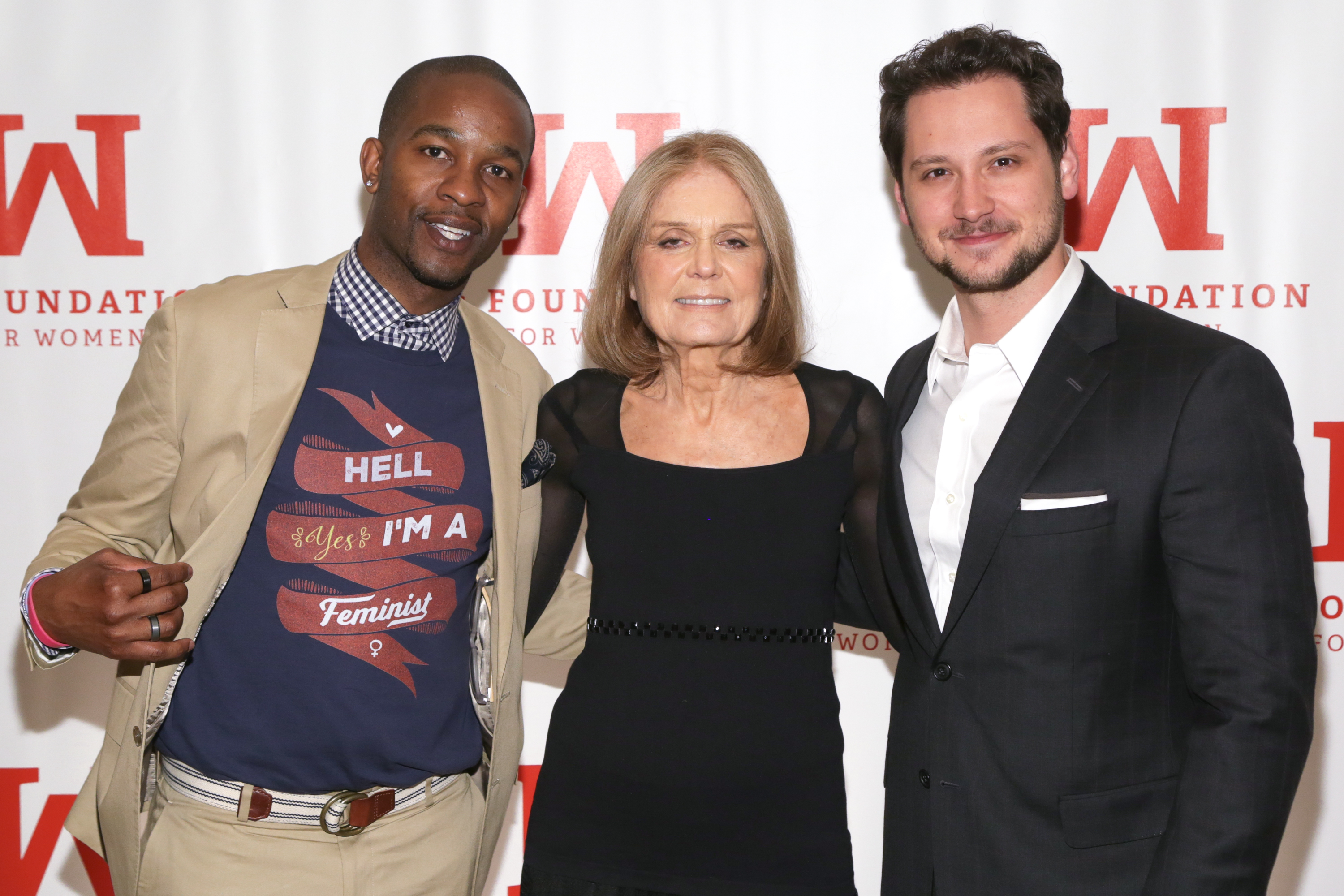 From left: former football player Wade Davis, feminist political activist Gloria Steinem and actor Matt McGorry attend the 2016 Gloria Awards: A Salute to Women of Vision Gala held at the Pierre Hotel in New York City on April 27, 2016