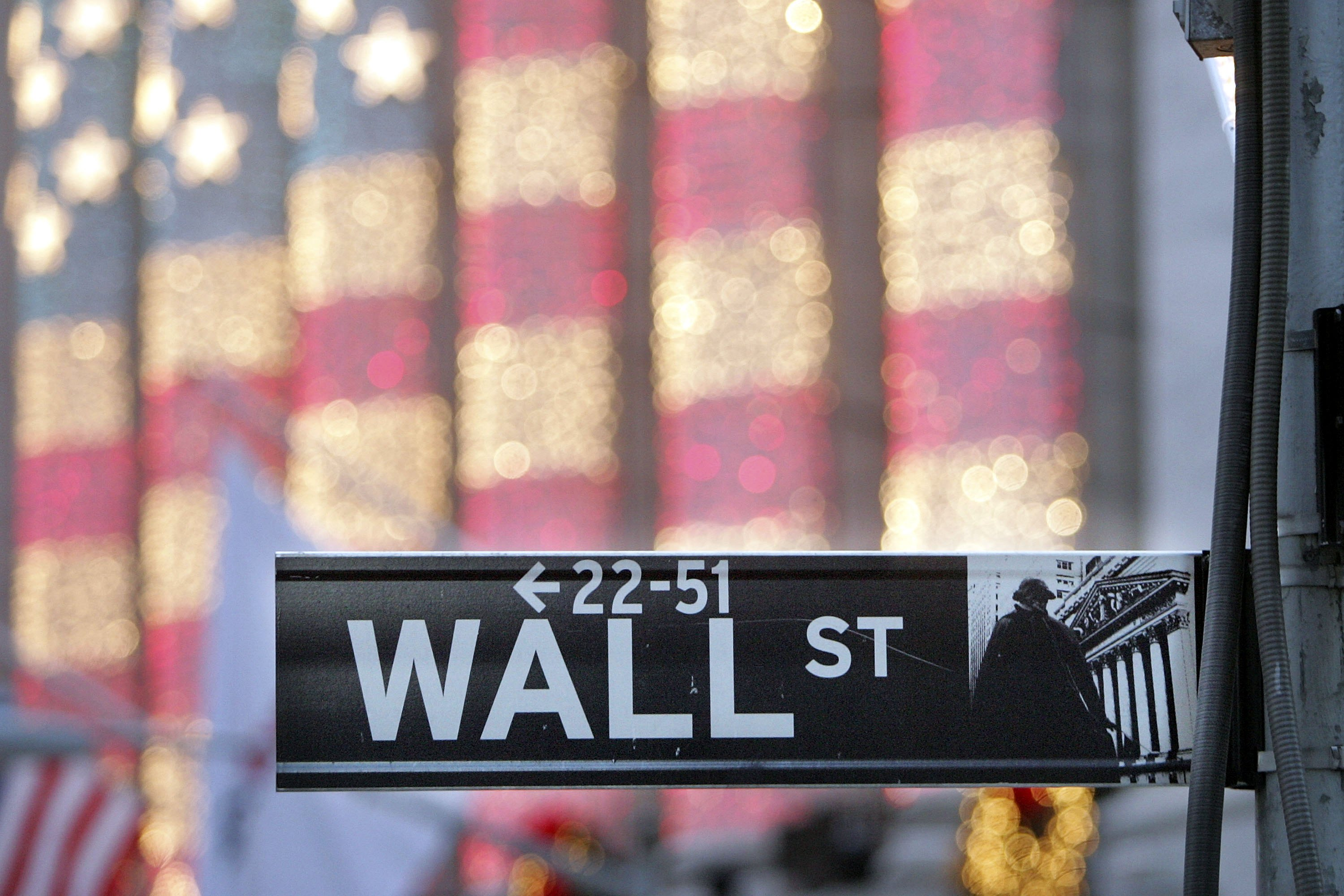 A Wall Street sign is seen in front of the New York Stock Exchange December 21, 2006 in New York City.