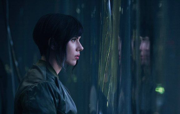 Scarlett Johansson is pictured here portraying her lead role in  Ghost in the Shell.